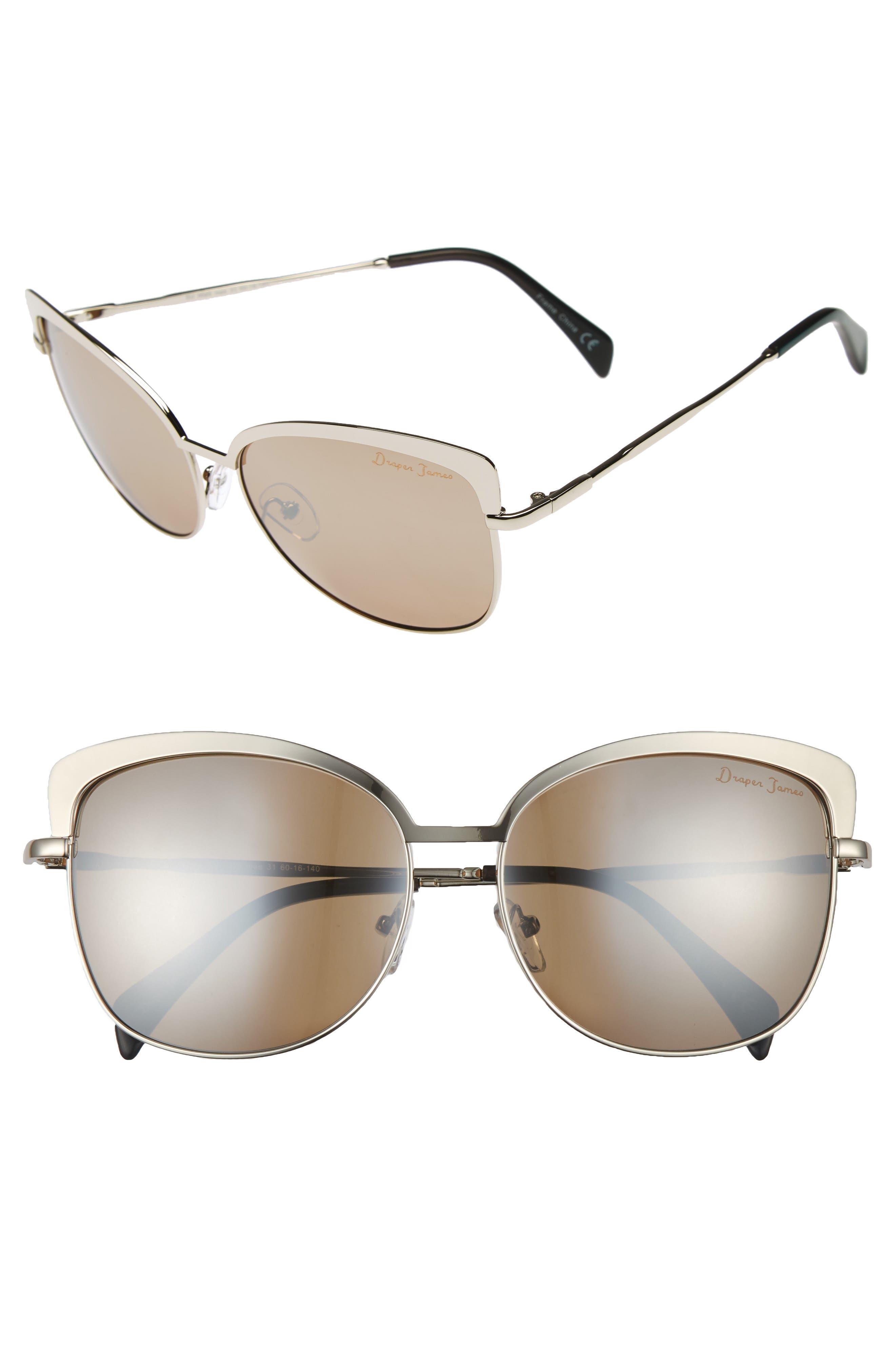 60mm Cat Eye Sunglasses,                         Main,                         color, Shiny Gunmetal