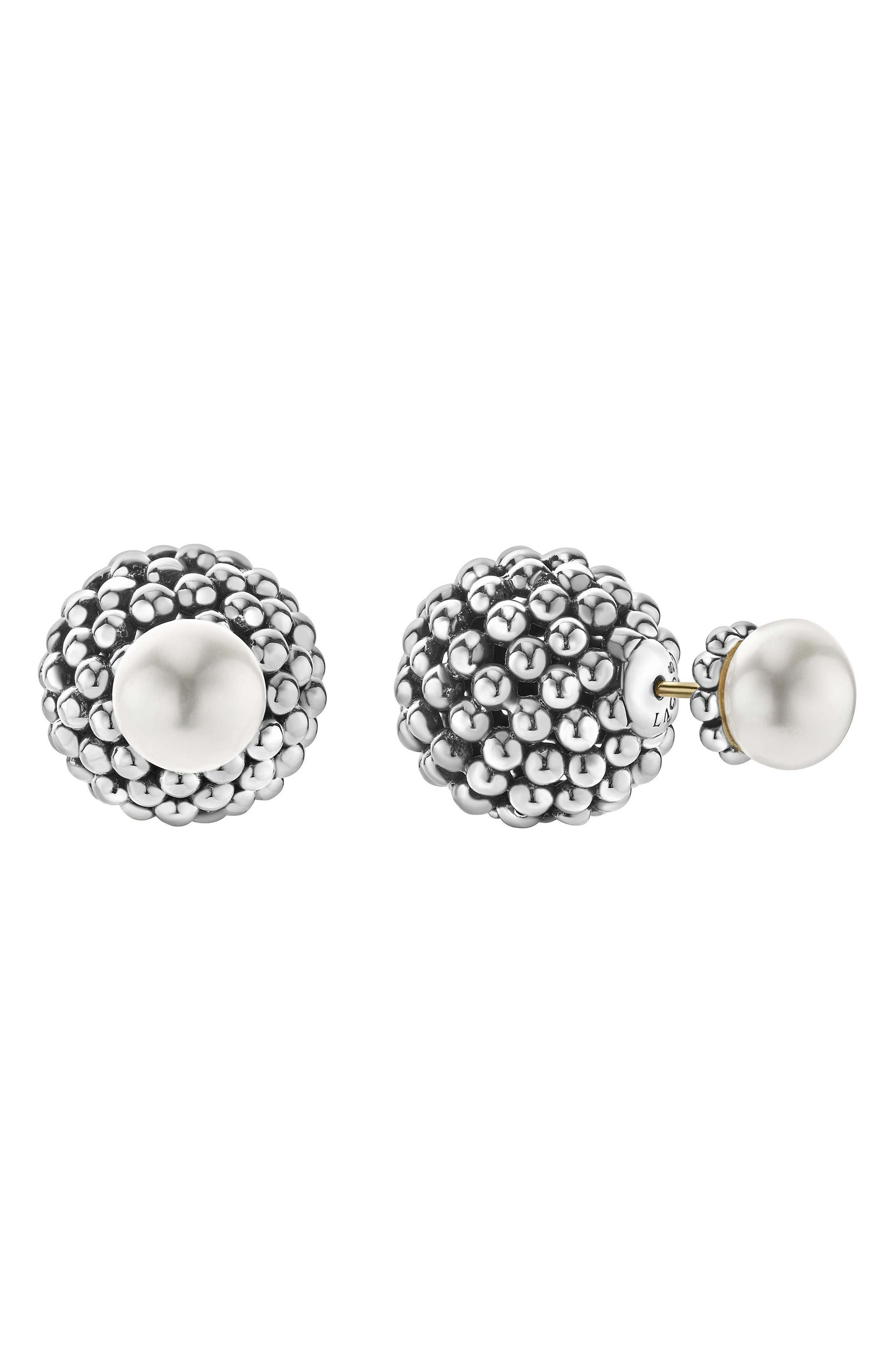 Caviar & Pearl Stud Earrings,                             Alternate thumbnail 2, color,                             Pearl