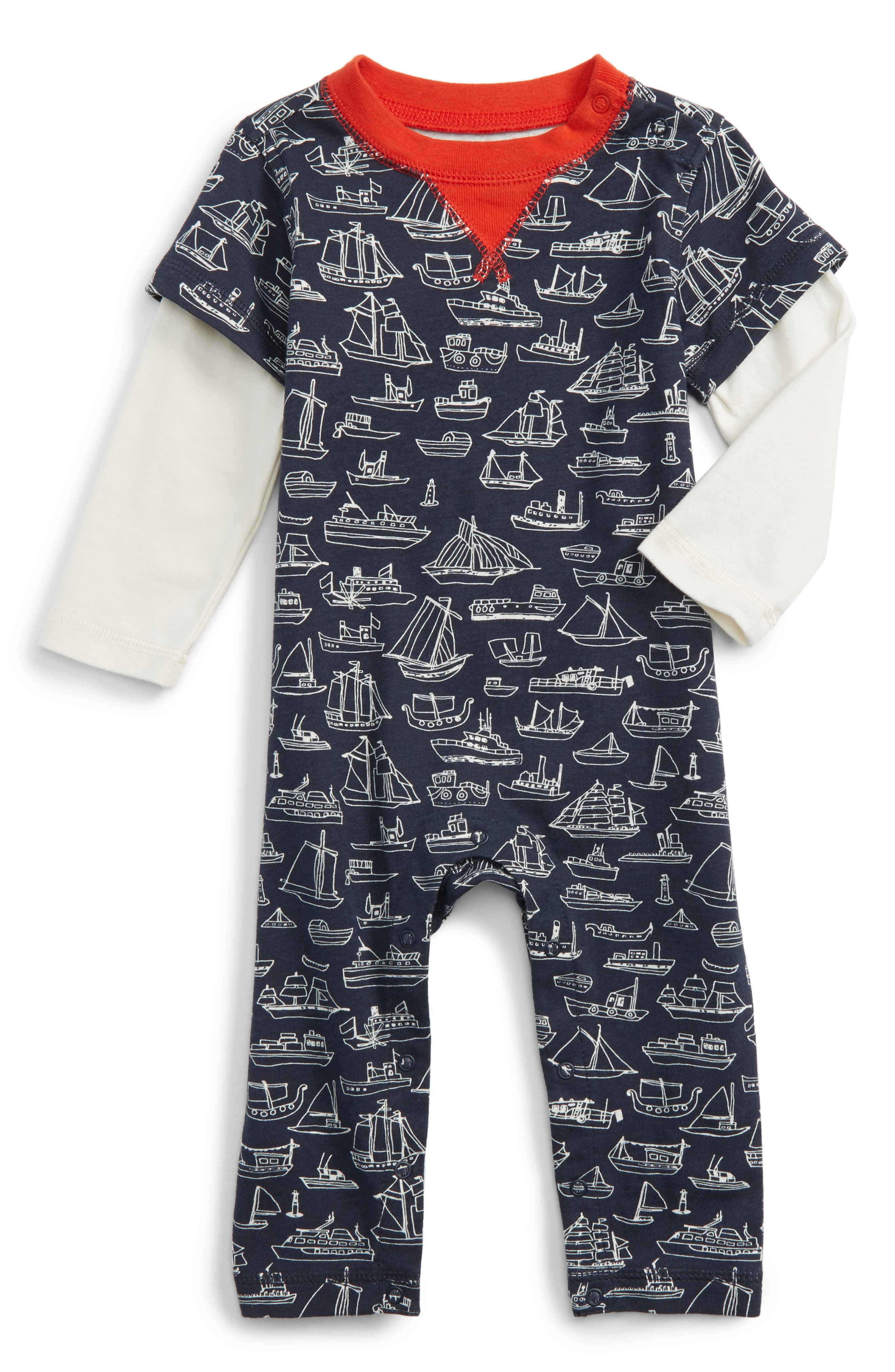Tea Collection Sail Away Layered Romper (Baby Boys)