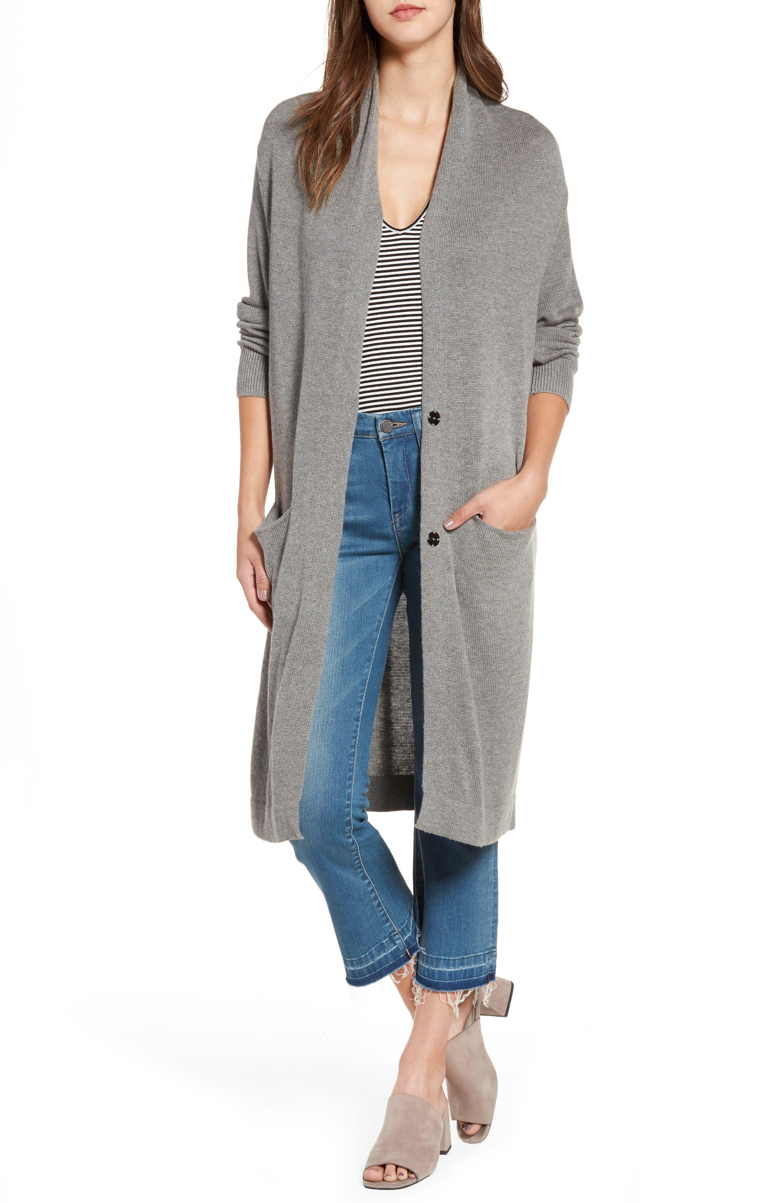 Shawl Collar Cardigan,                         Main,                         color, Grey Cloudy Hthr