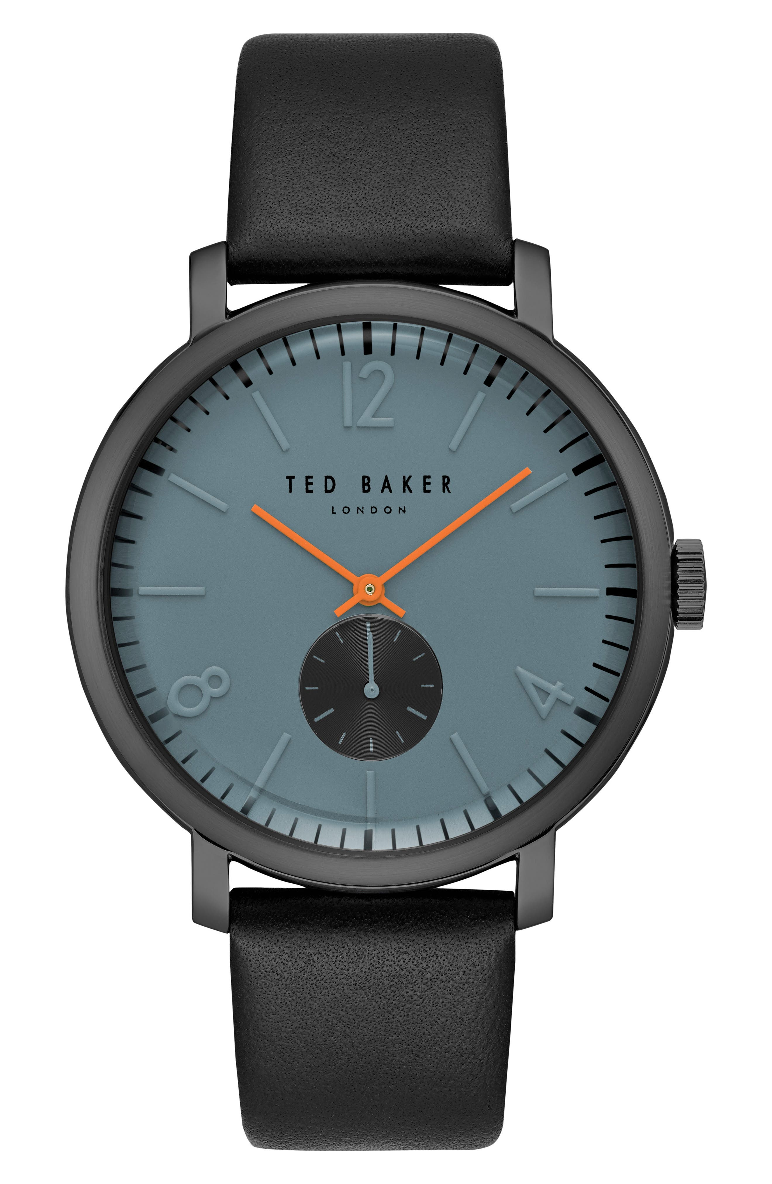 Main Image - Ted Baker London Oliver Leather Strap Watch, 44mm