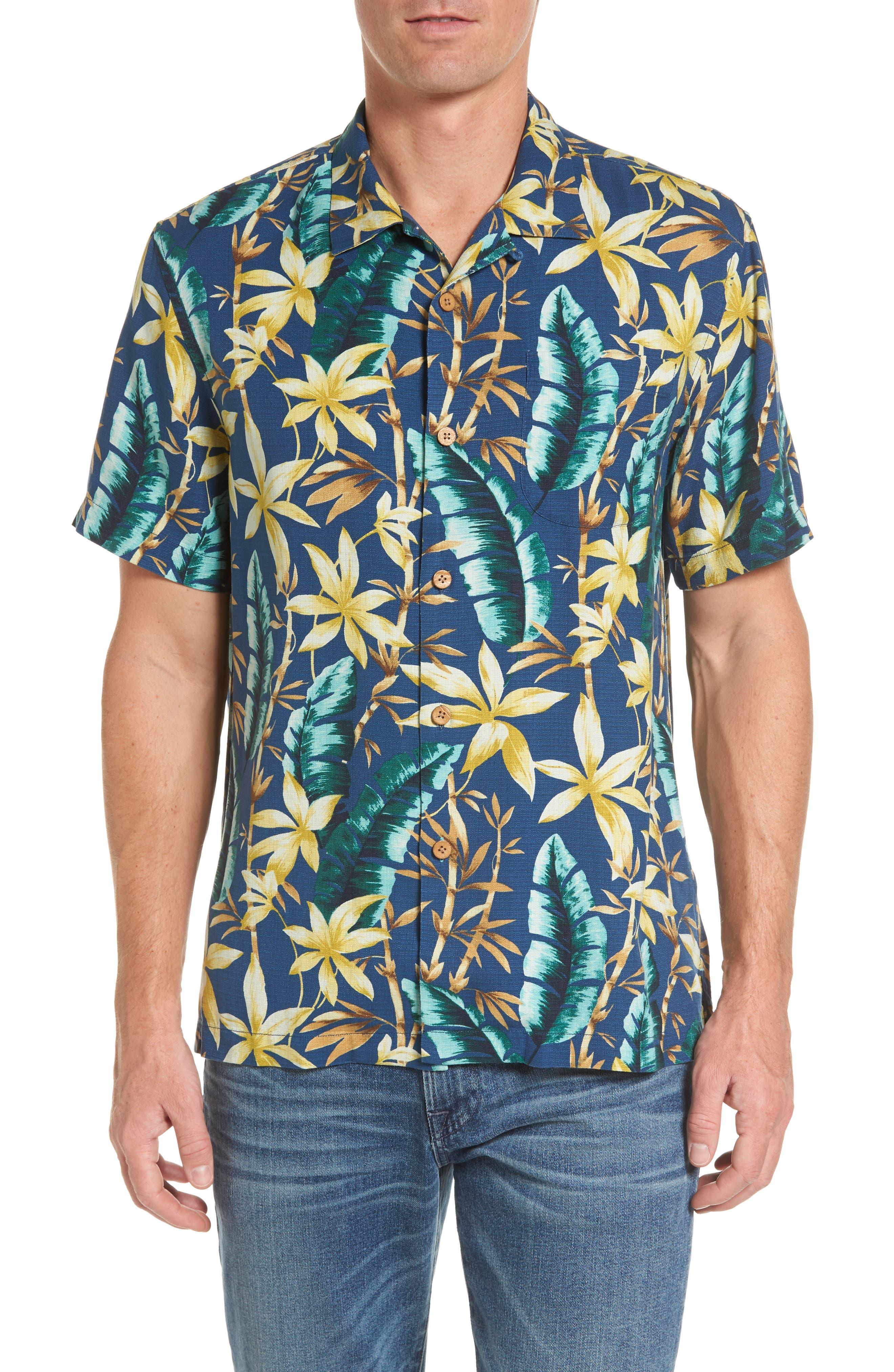 Standard Fit Jungle Punch Silk Camp Shirt,                             Main thumbnail 1, color,                             Bering Blue