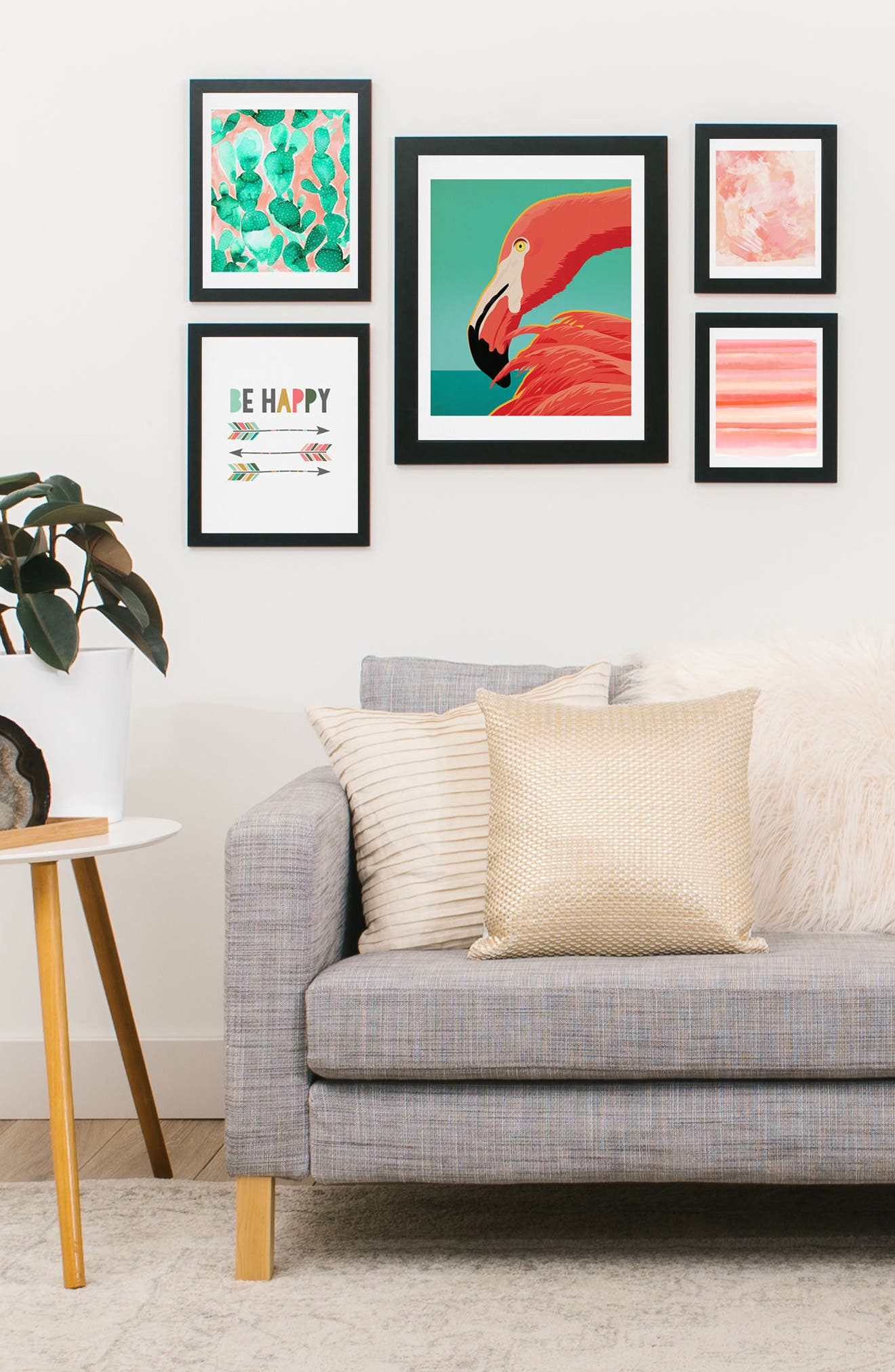 Tropical Flamingo Five-Piece Gallery Wall Art Print Set,                             Alternate thumbnail 2, color,                             Coral And Green
