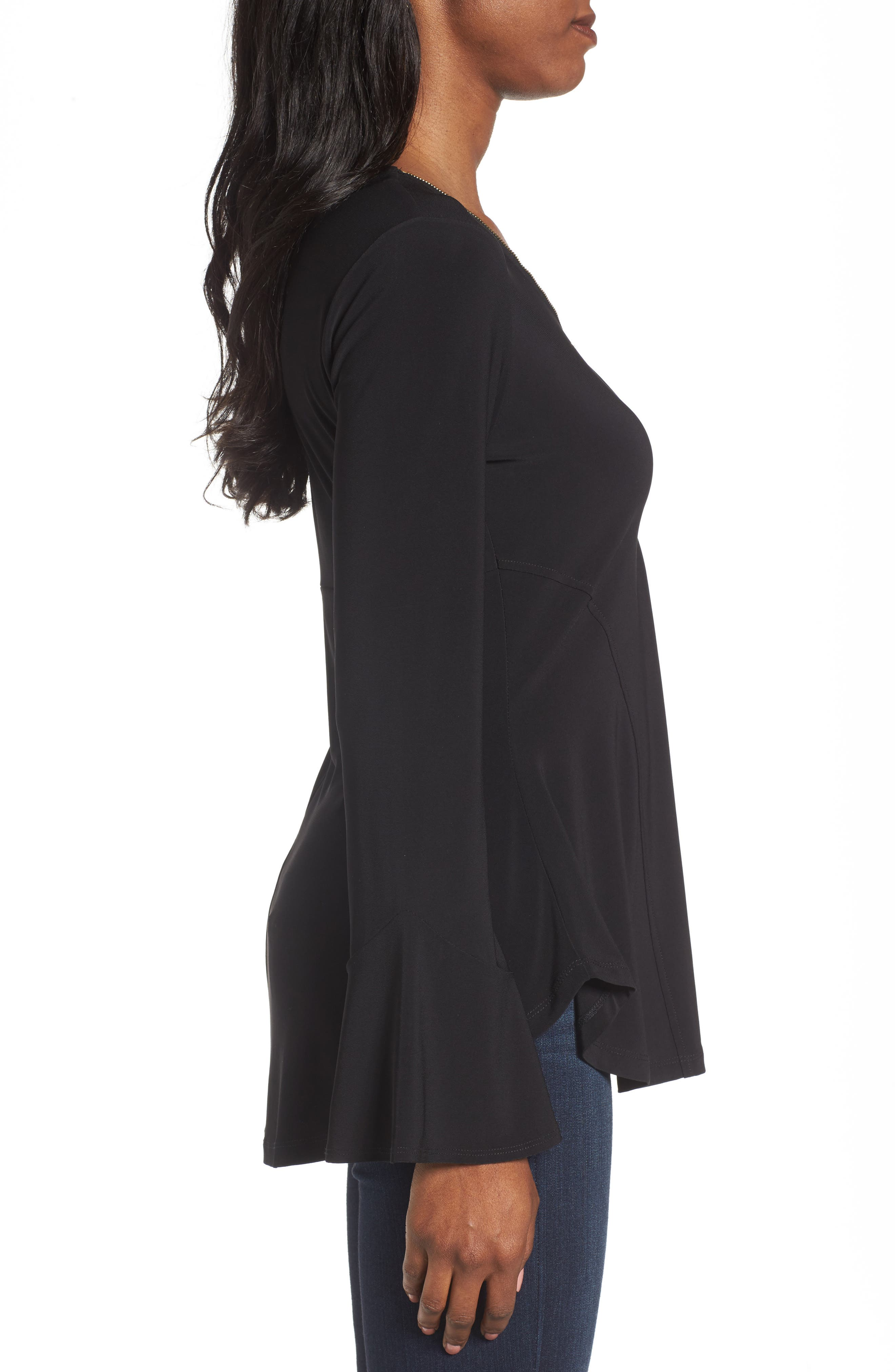 Alternate Image 3  - Chaus Zip Front Flounce Sleeve Top