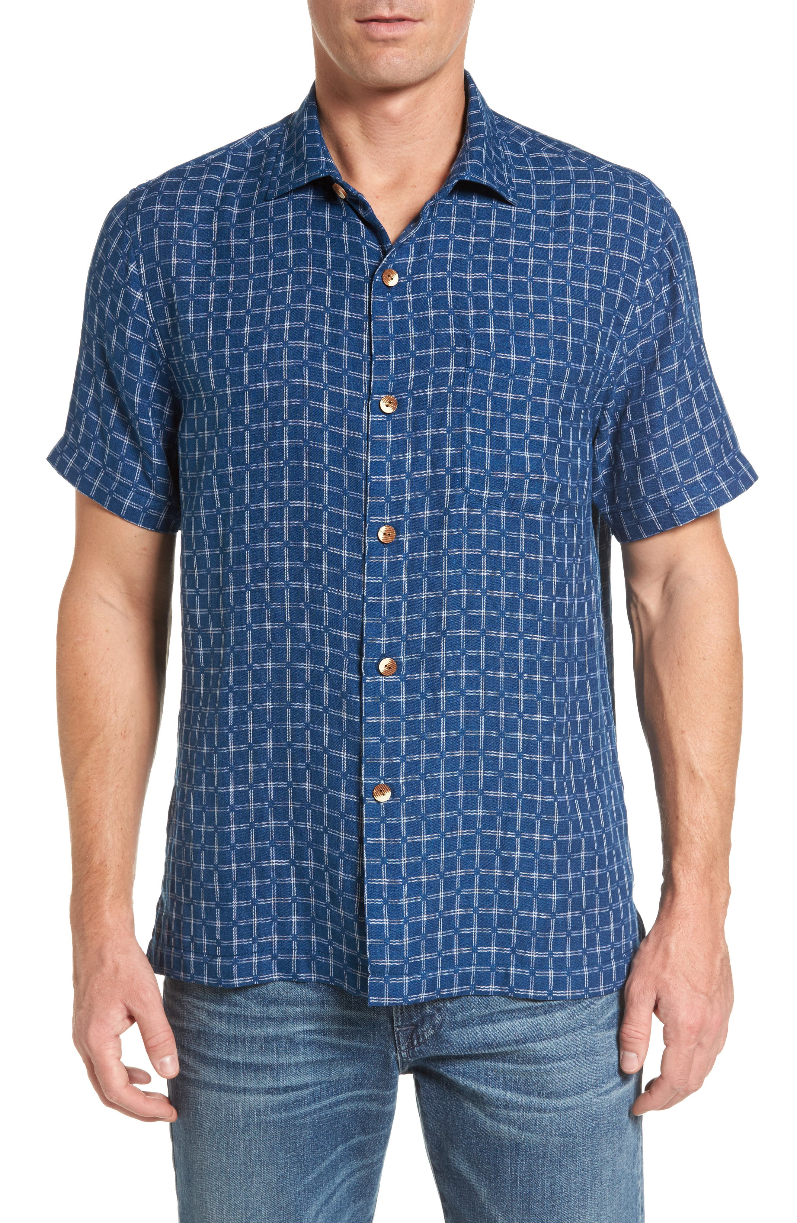 Keep It in Check Standard Fit Silk Blend Camp Shirt,                         Main,                         color, Bering Blue