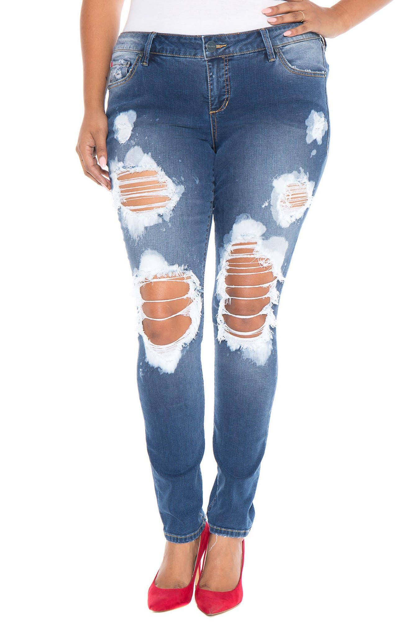 Main Image - SLINK Destroyed Skinny Jeans (Plus Size)