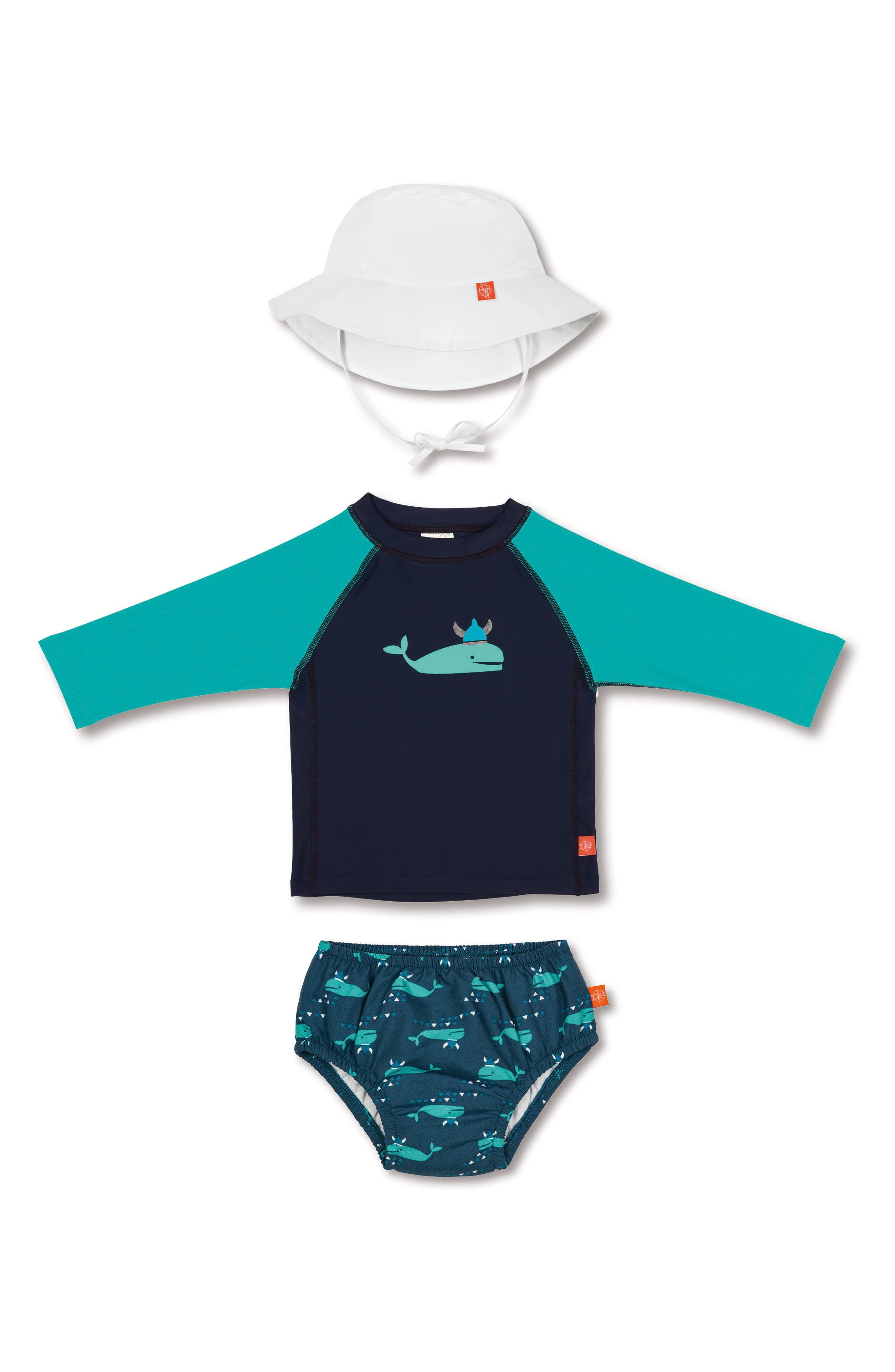 Alternate Image 1 Selected - Lassig Two-Piece Rashguard Swimsuit & Hat Set (Baby & Toddler)