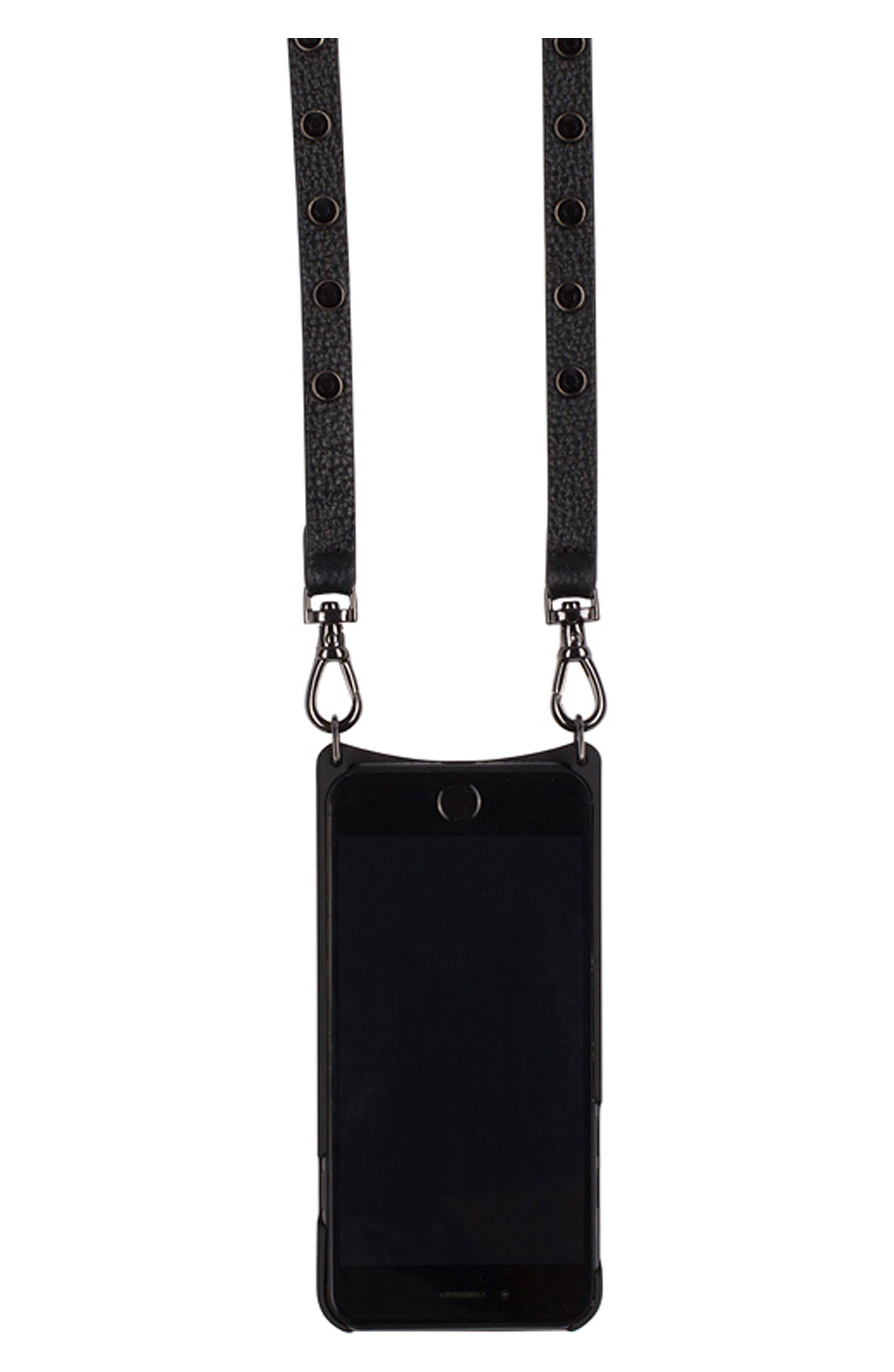 Jules Leather iPhone 6/7/8 & 6/7/8 Plus Crossbody Case,                             Alternate thumbnail 5, color,                             Black/ Pewter