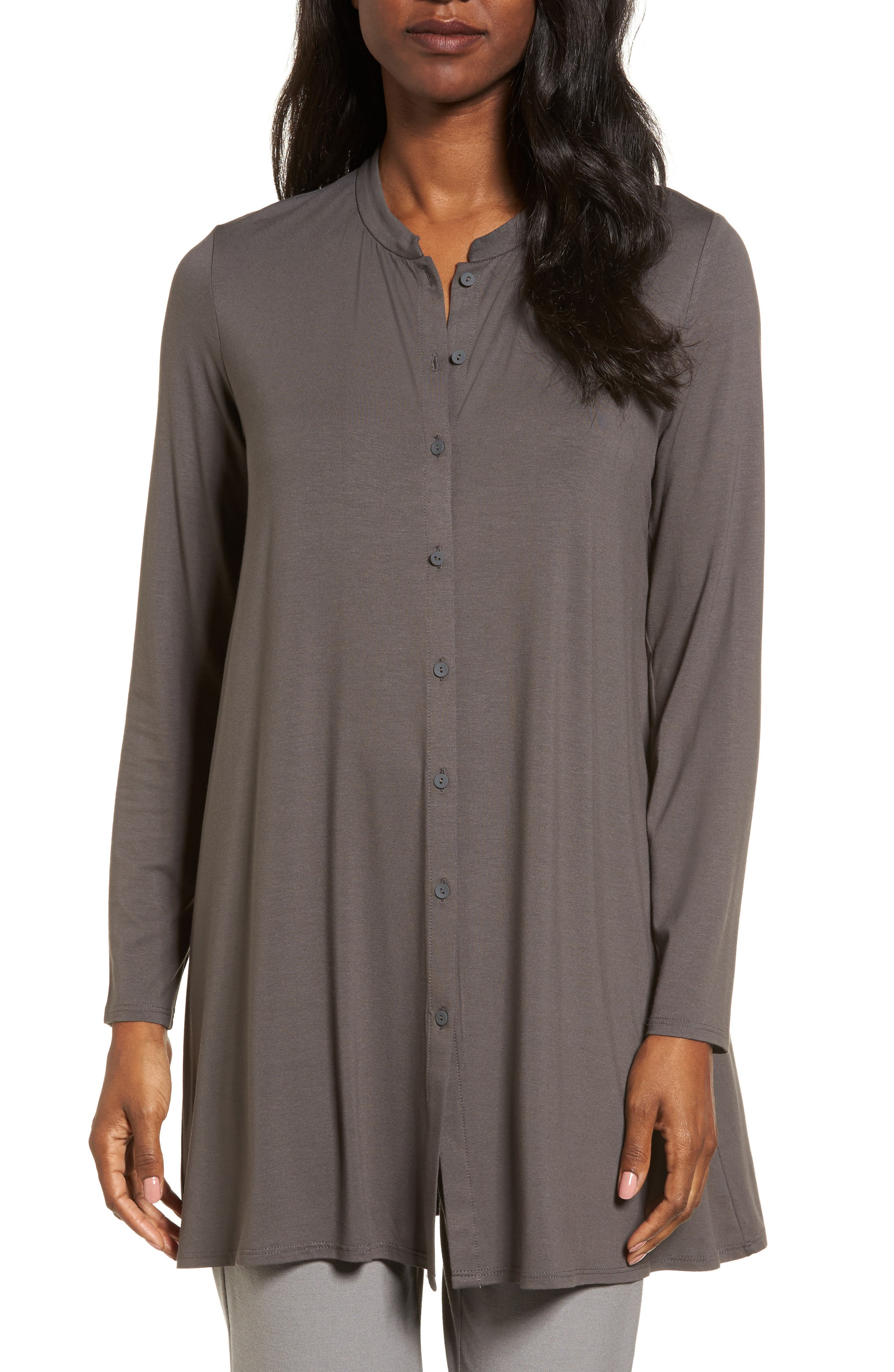 Button Front Jersey Tunic,                             Main thumbnail 1, color,                             Bark