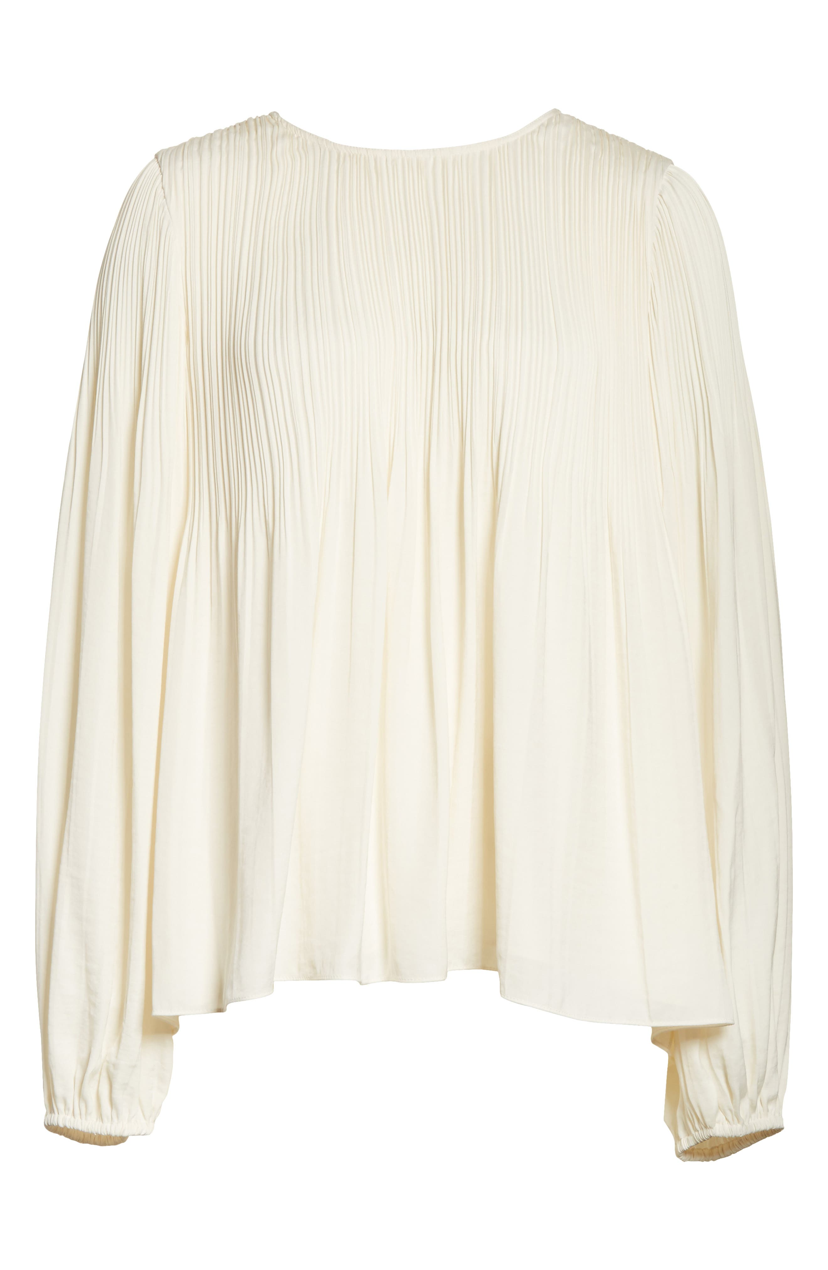 Grove Pleated Blouse,                             Alternate thumbnail 6, color,                             Alabaster
