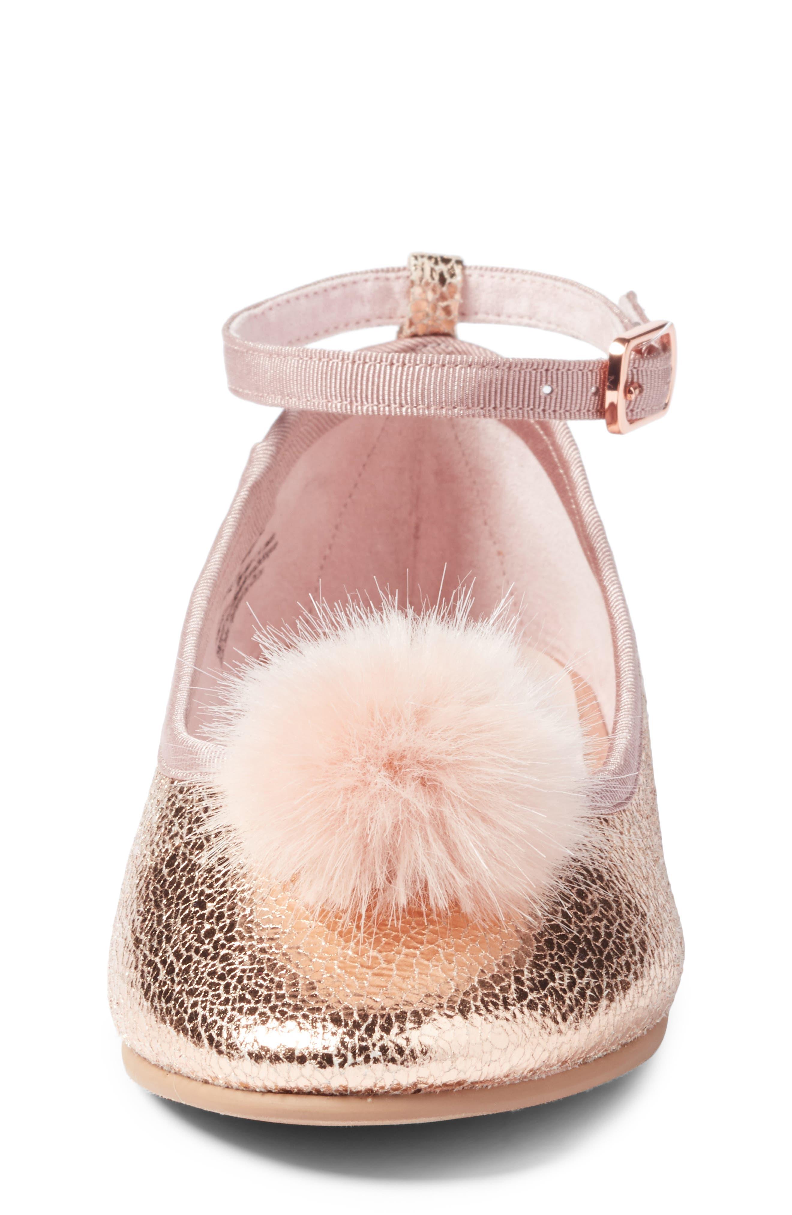 Kilie Faux Fur Pom Flat,                             Alternate thumbnail 4, color,                             Rose Gold Faux Leather