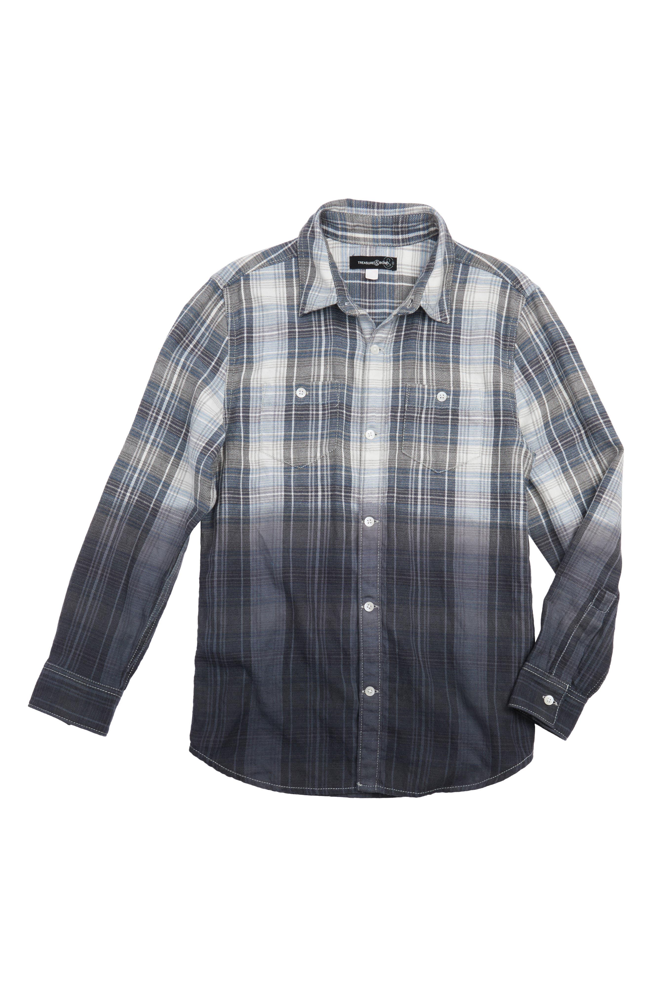 Ombré Plaid Shirt,                             Main thumbnail 1, color,                             Blue Vintage- Blue