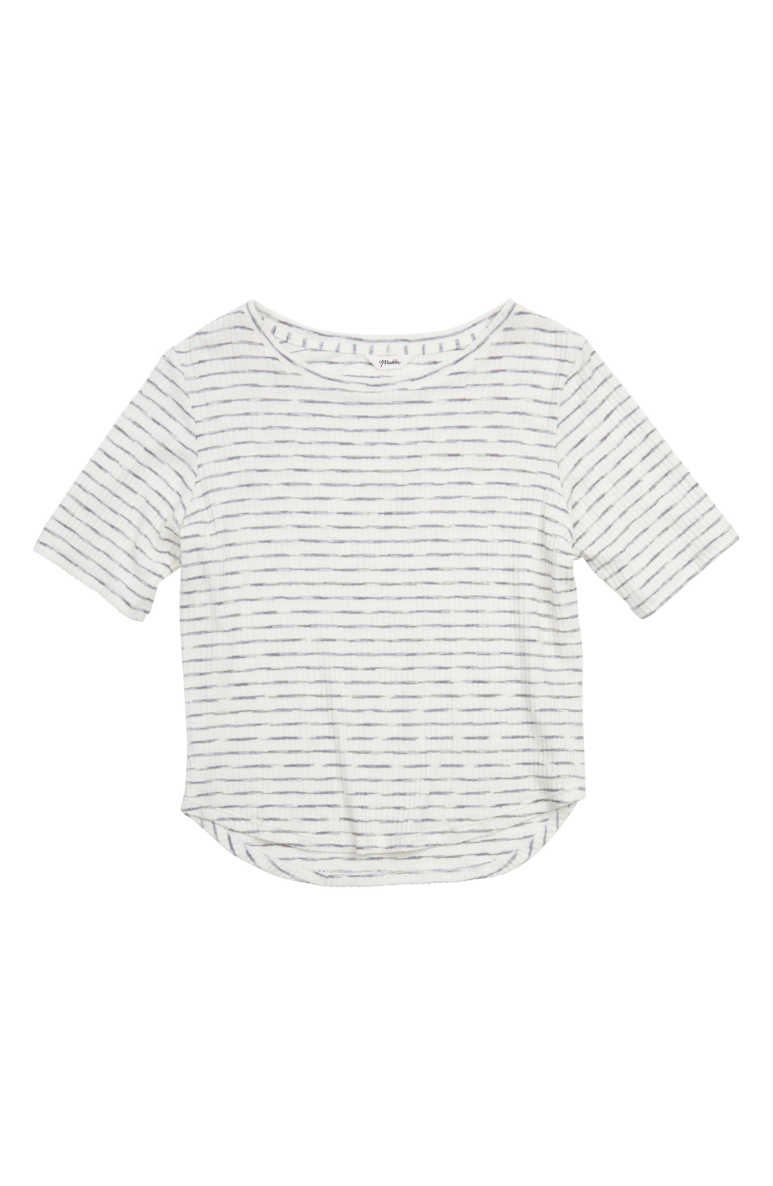 Rib Knit Tee,                         Main,                         color, Grey/ White