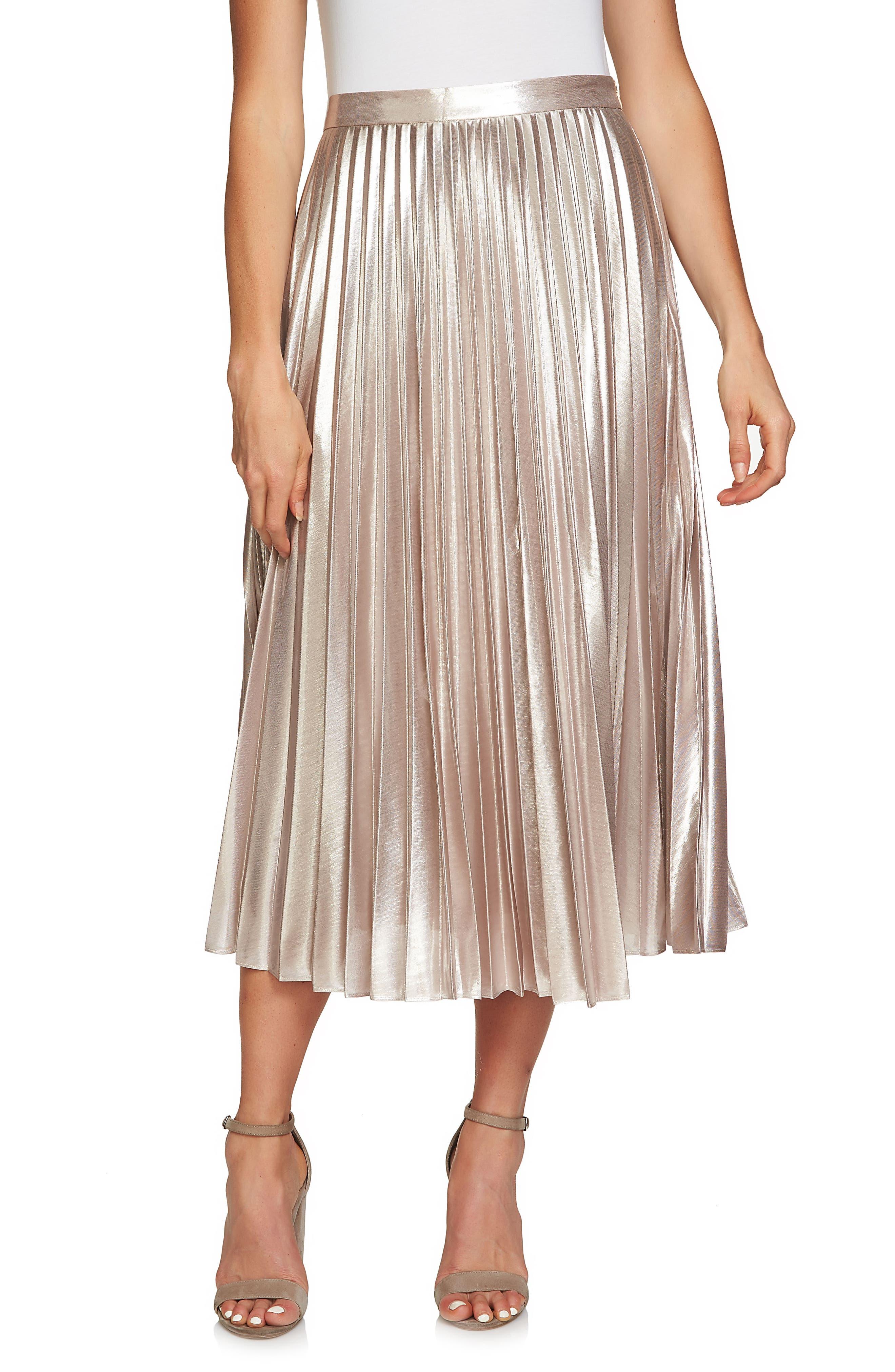 Alternate Image 1 Selected - 1.STATE Metallic Pleated Midi Skirt