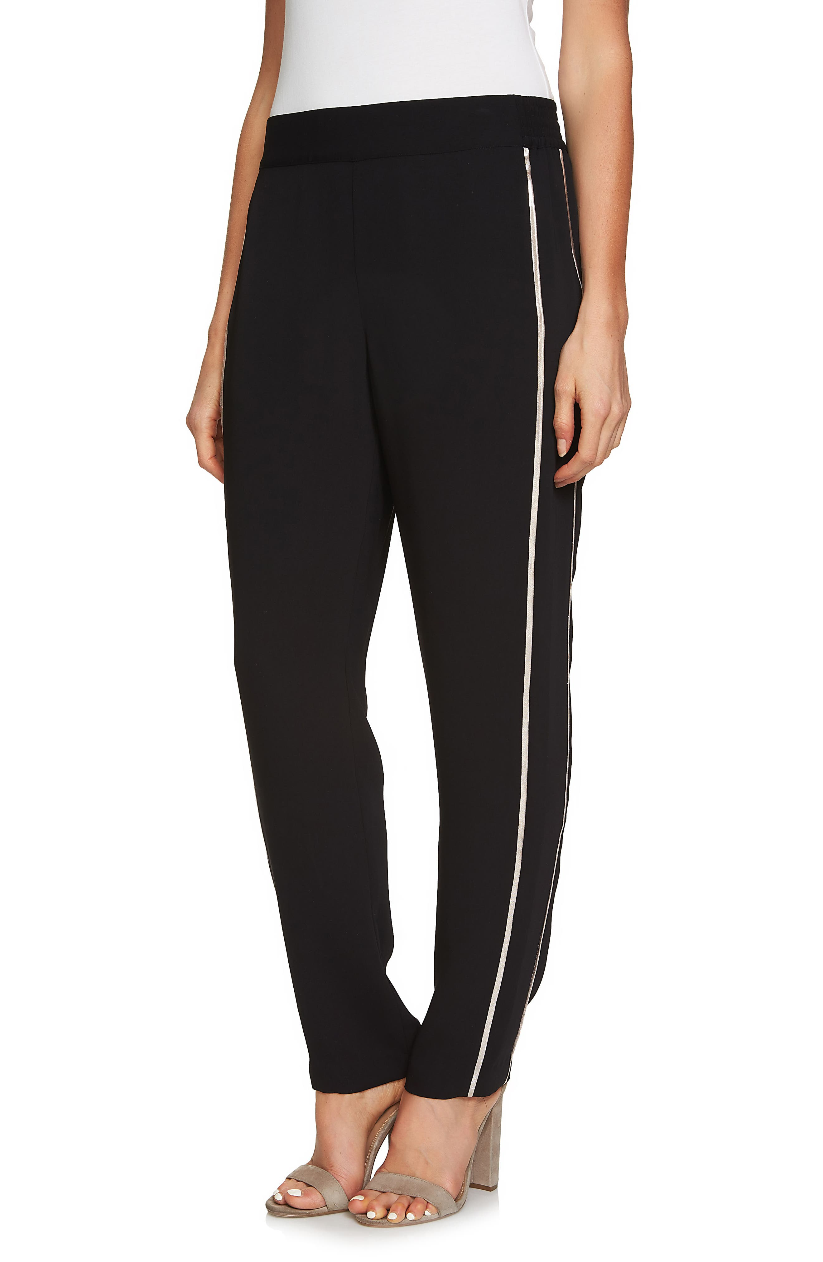 Metallic Stripe Pants,                         Main,                         color, Rich Black