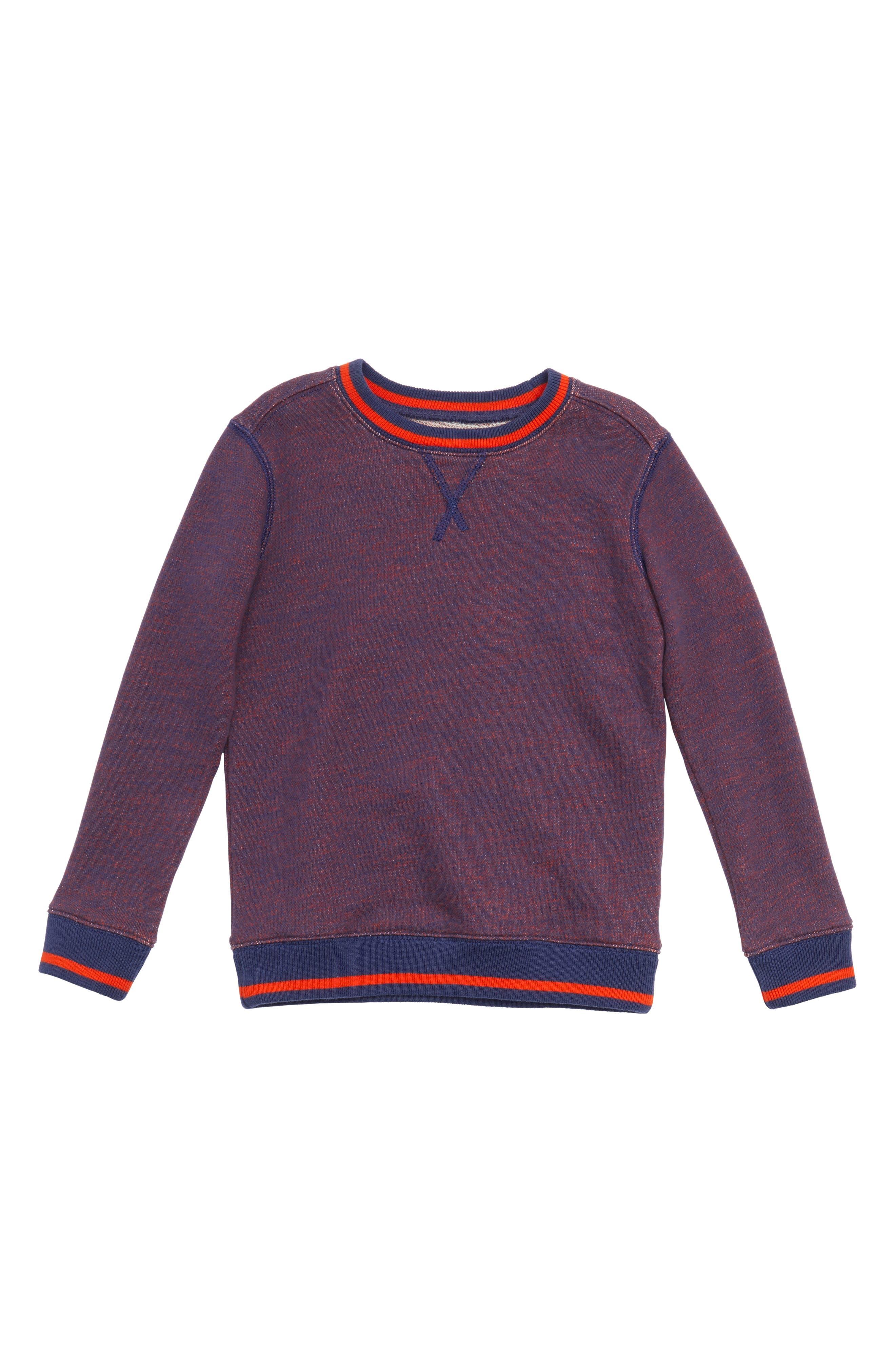 Crewneck Sweatshirt,                         Main,                         color, Navy Denim- Red
