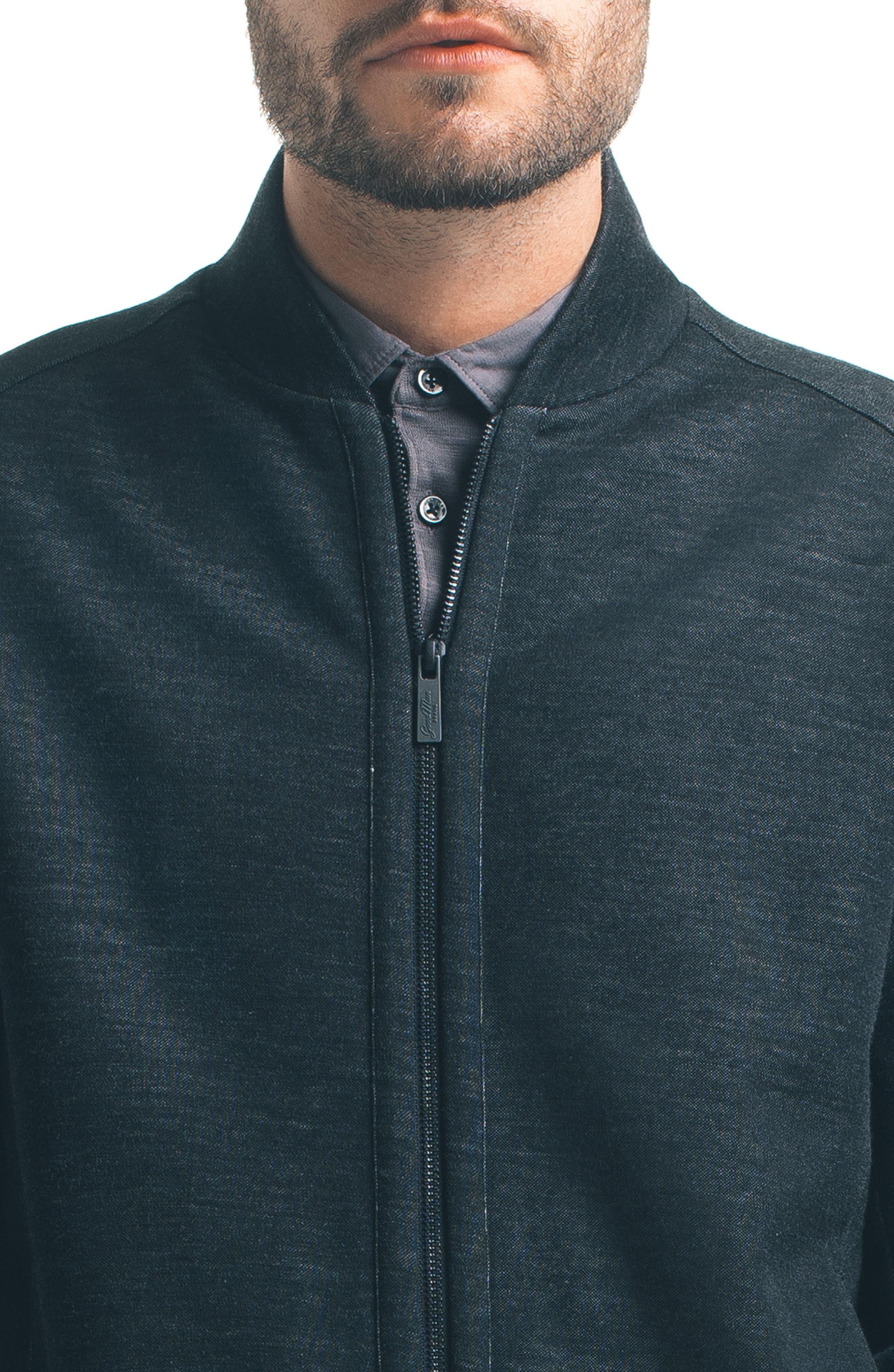 Modern Slim Fit Bomber Jacket,                             Alternate thumbnail 4, color,                             Black
