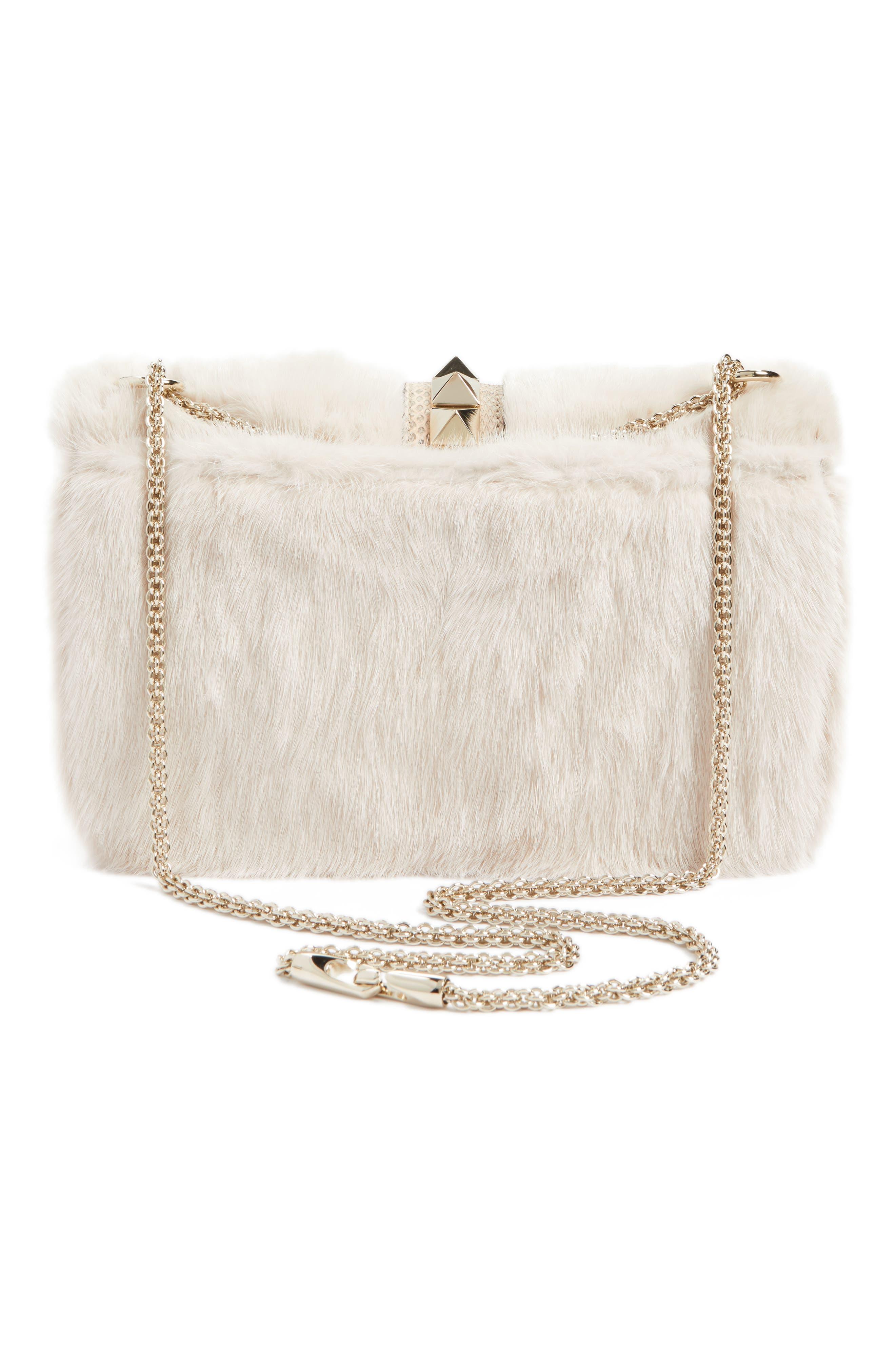 Alternate Image 2  - VALENTINO GARAVANI Small Lock Genuine Mink Fur & Snakeskin Shoulder Bag
