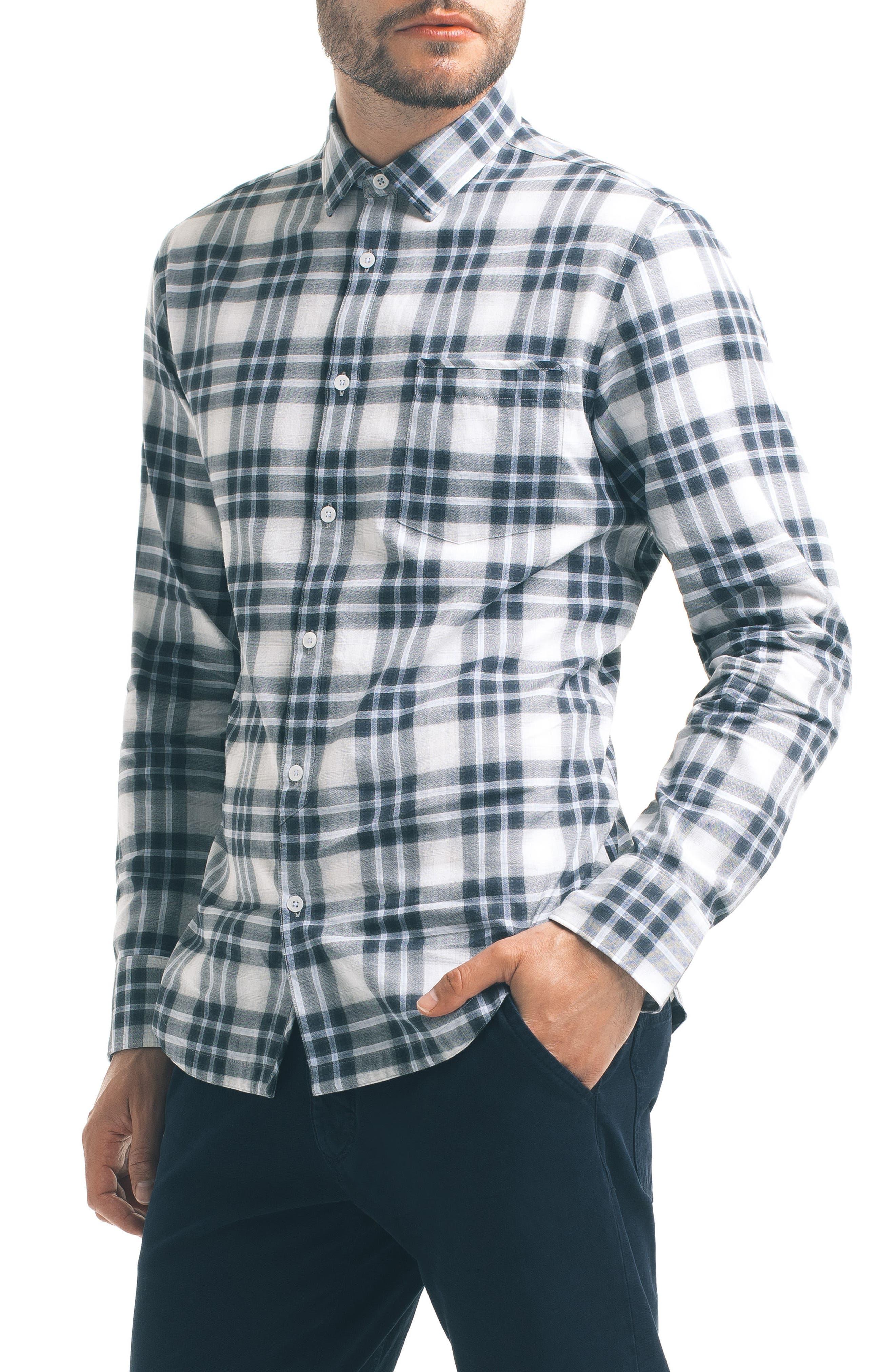 Slim Fit Plaid Sport Shirt,                             Alternate thumbnail 5, color,                             White