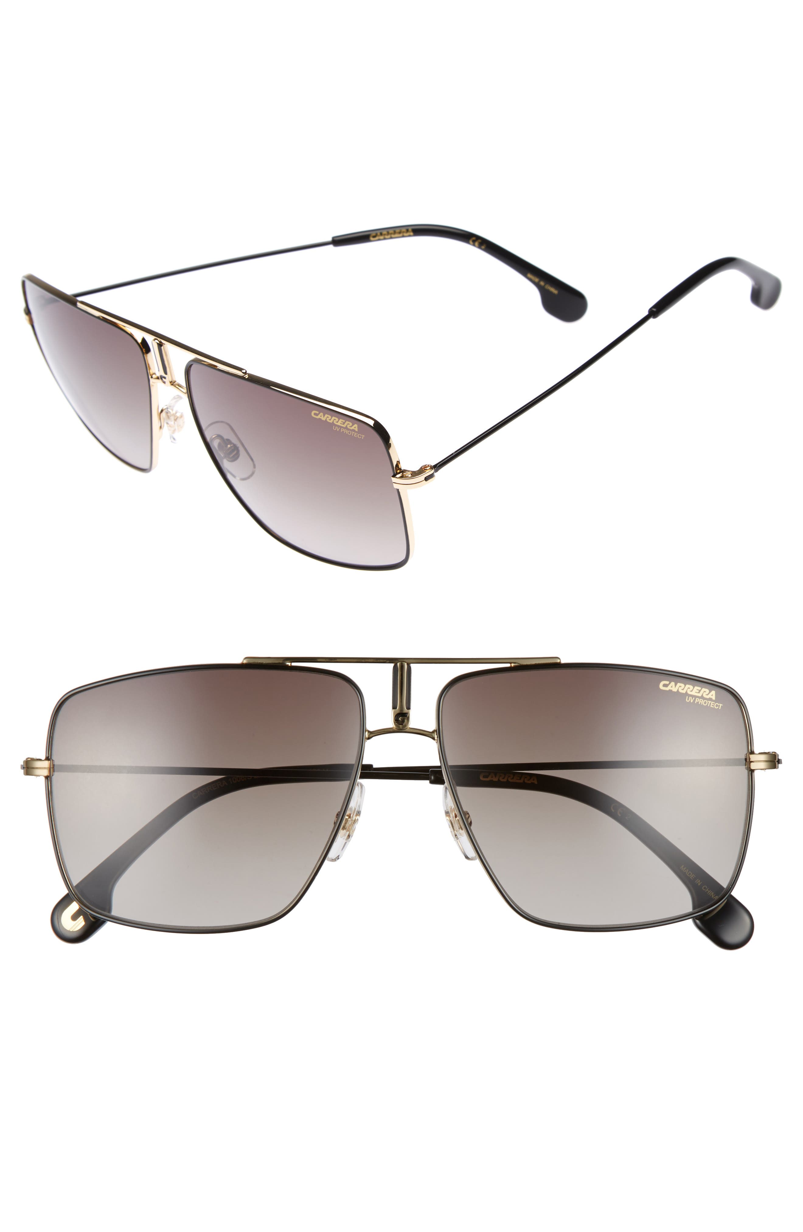 Carrera 60mm Aviator Sunglasses,                             Main thumbnail 1, color,                             Black Gold