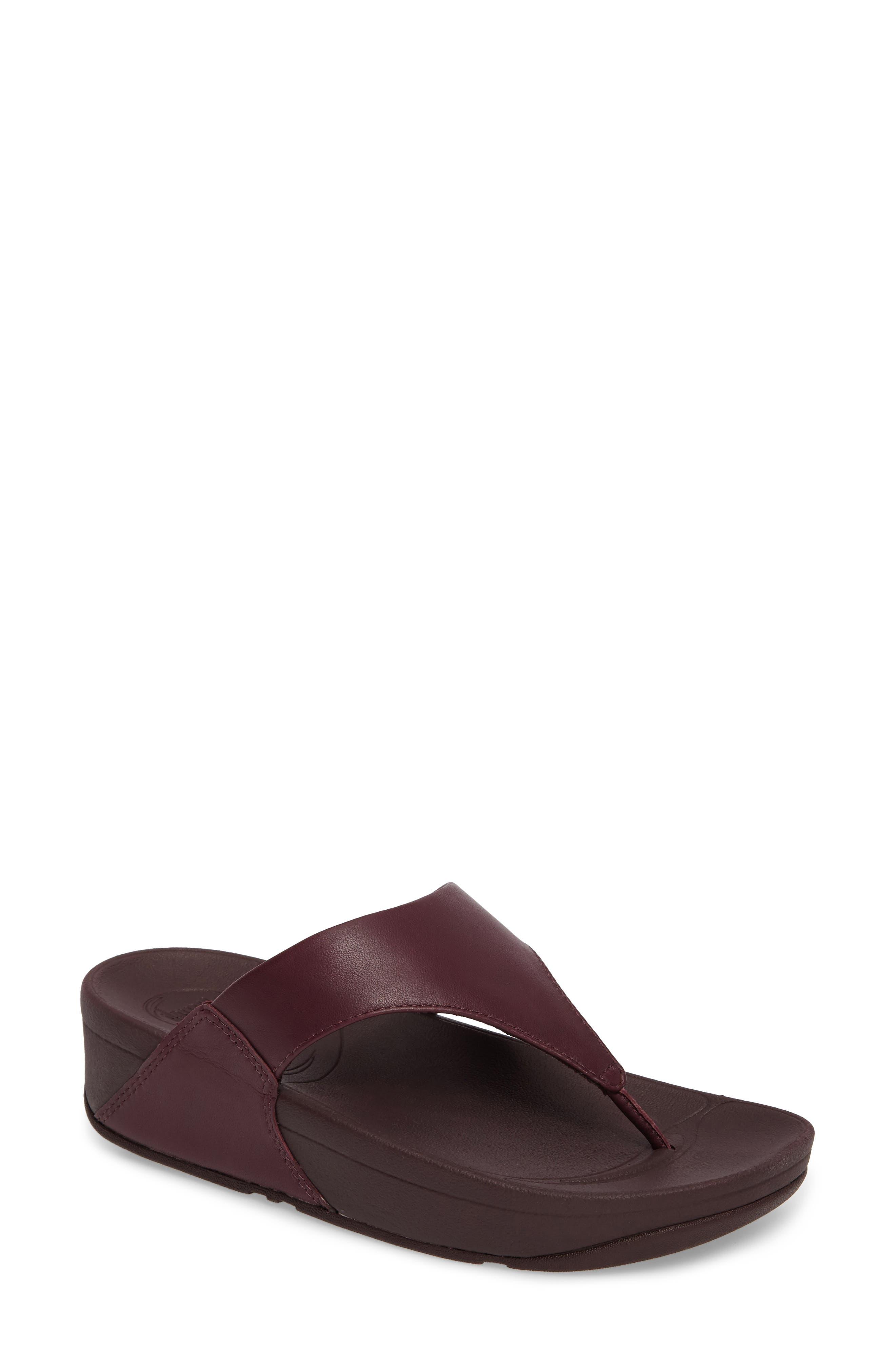 Lulu Sandal,                         Main,                         color, Deep Plum Leather