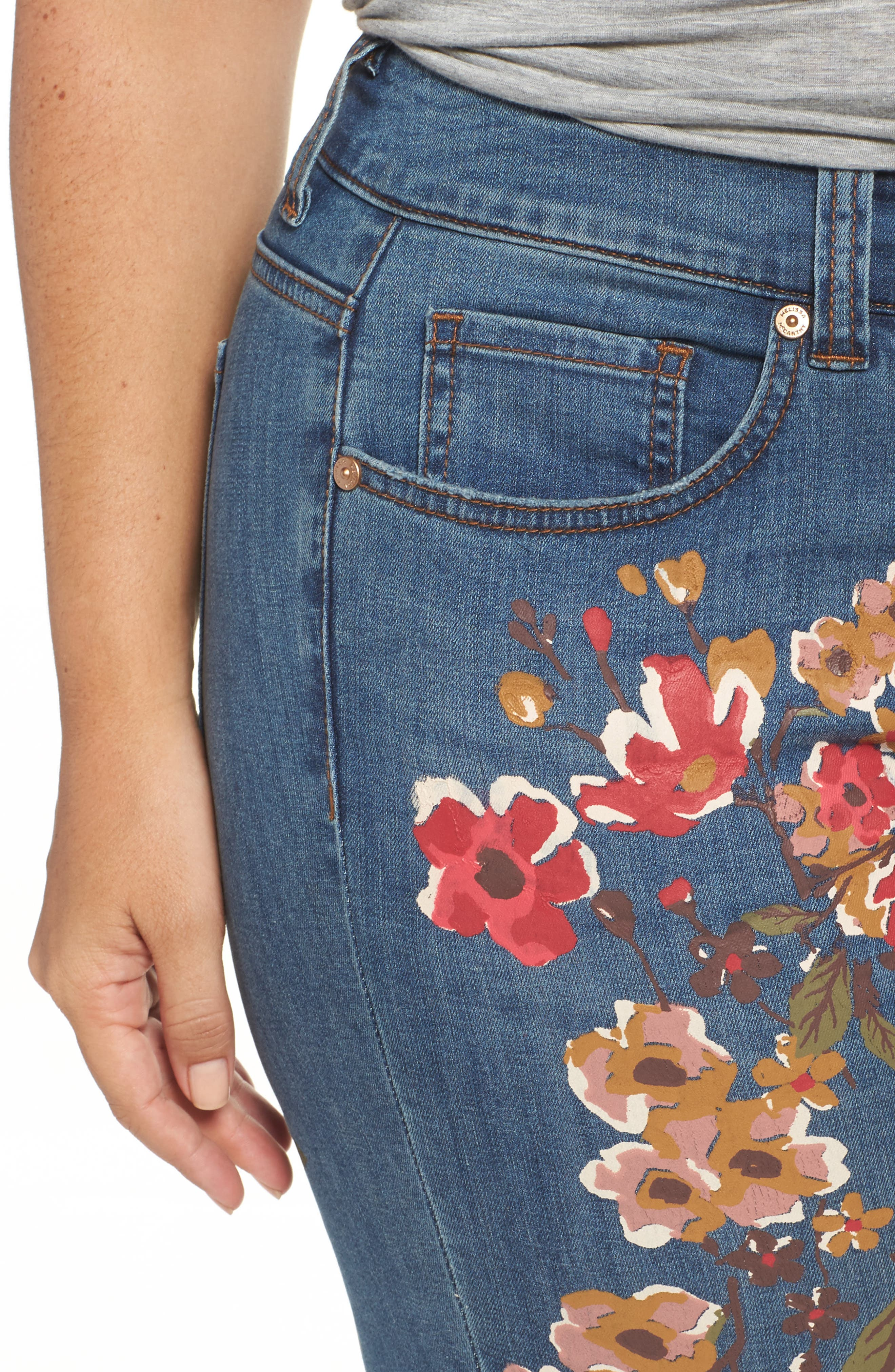 Painted Flowers Skinny Jeans,                             Alternate thumbnail 4, color,                             Destiny