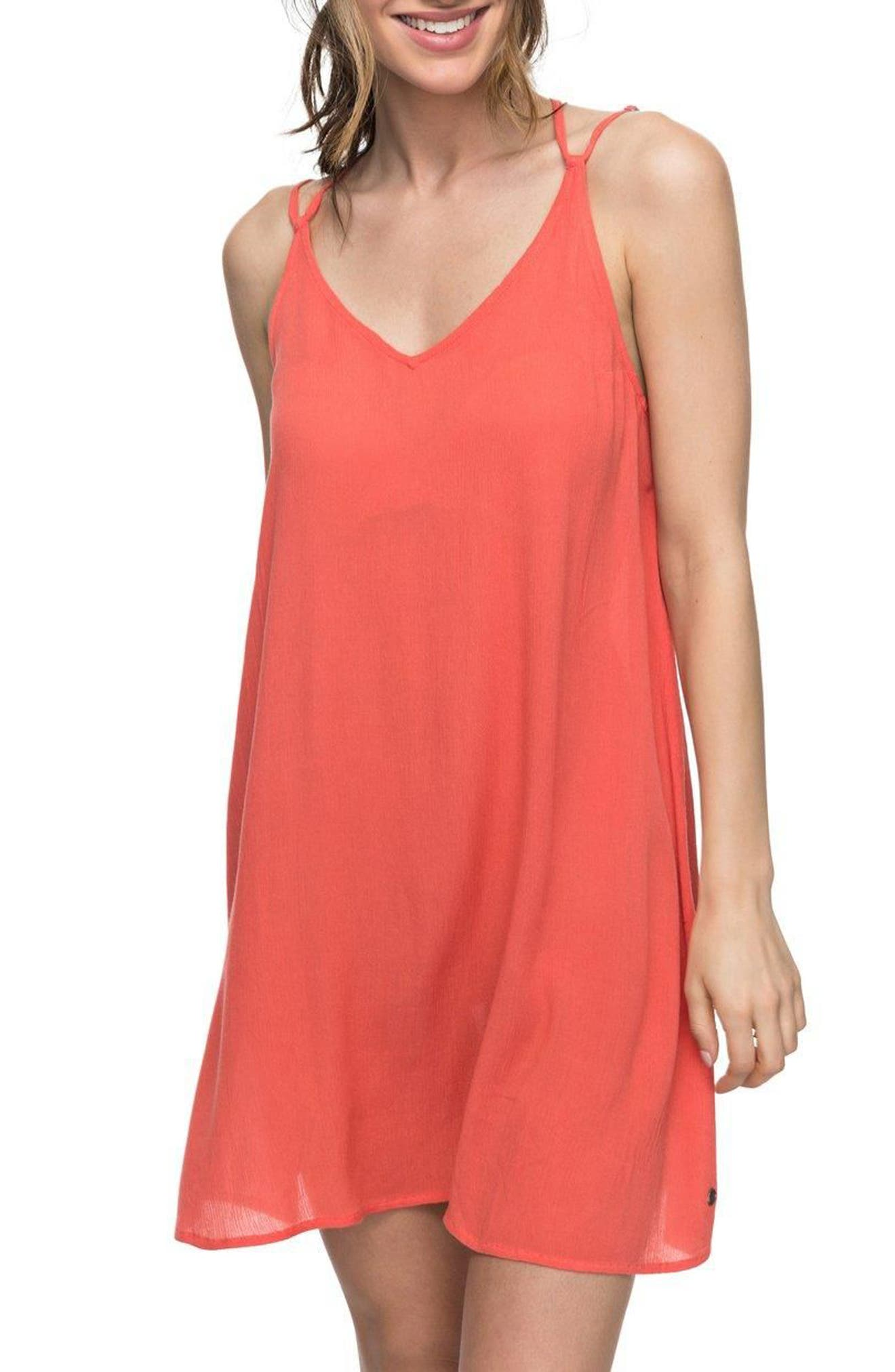 Dome of Amalfi Strappy Camisole Dress,                         Main,                         color, Spiced Coral