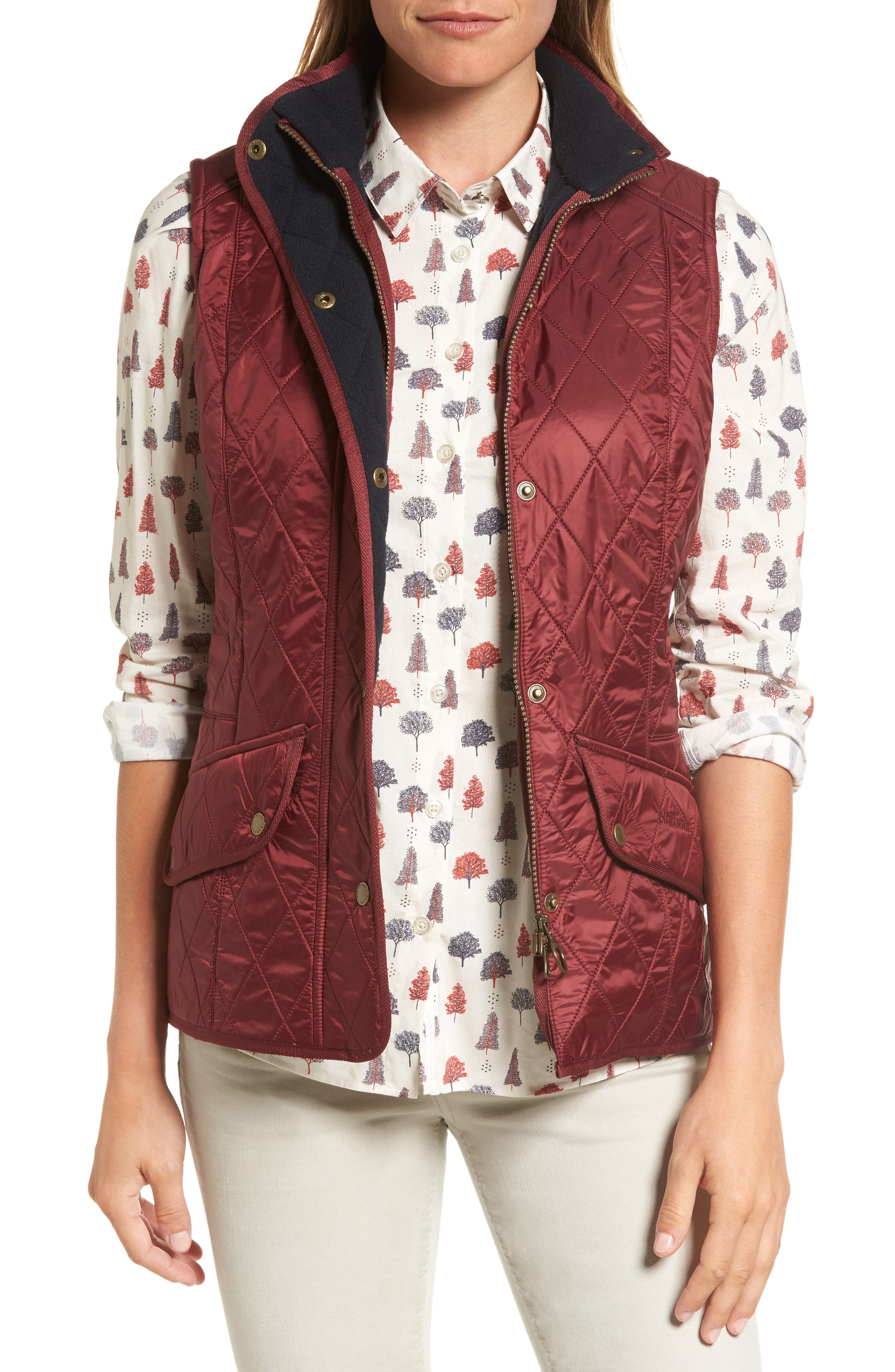 'Cavalry' Quilted Vest,                         Main,                         color, Carmine/ Navy