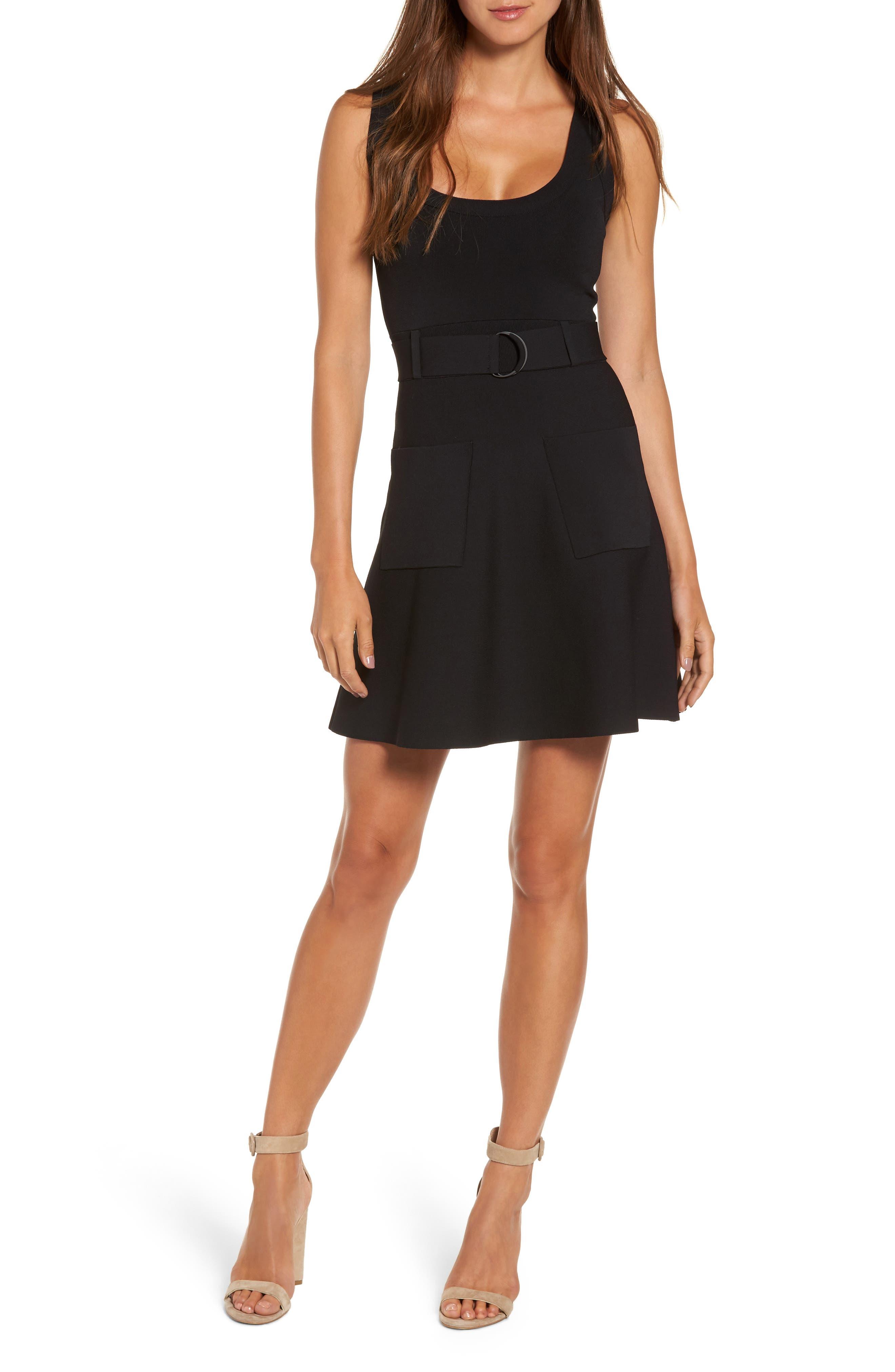 Sleeveless Fit & Flare Dress,                         Main,                         color, Black