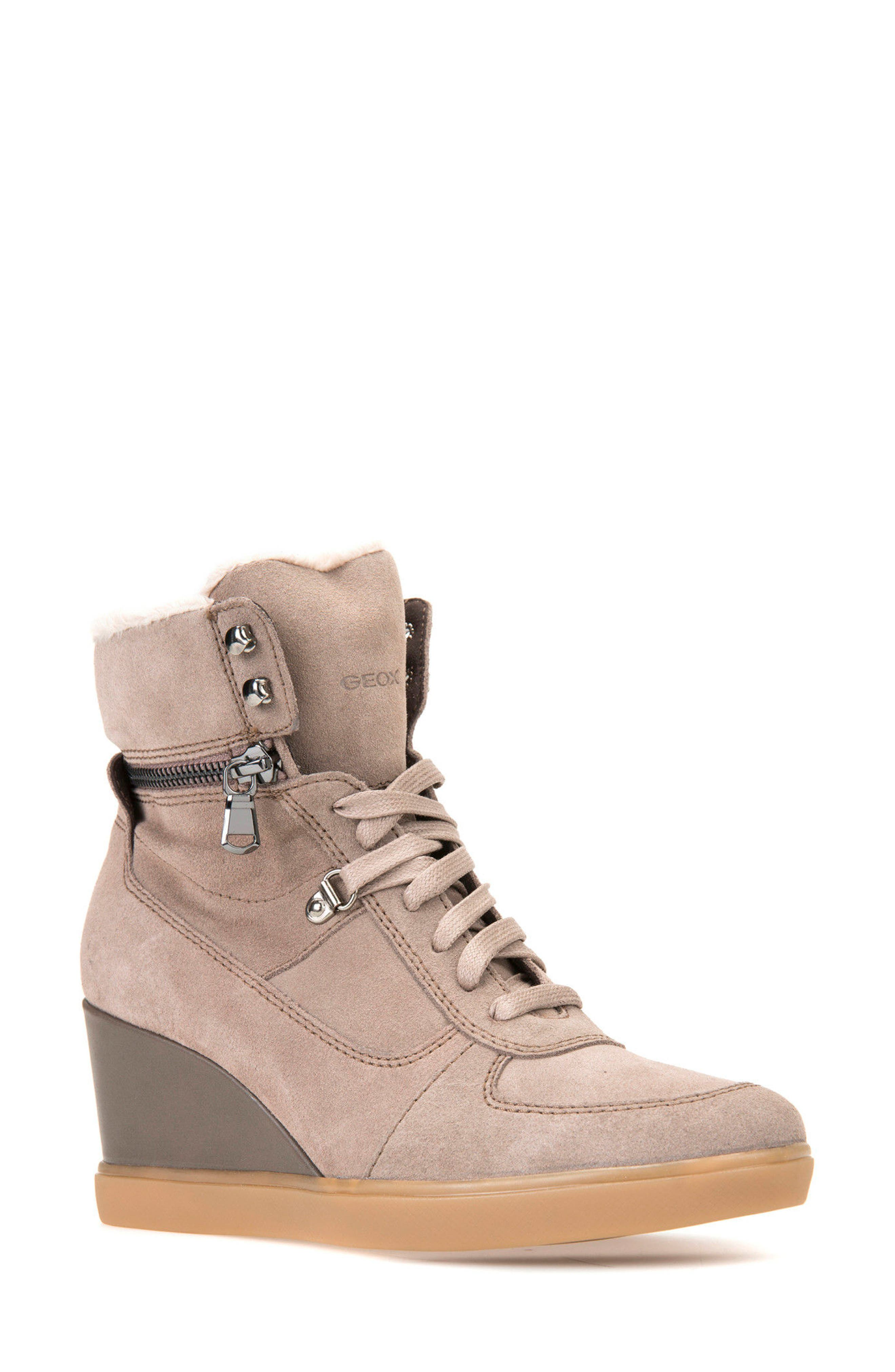 Eleni Wedge Sneaker,                         Main,                         color, Taupe Suede