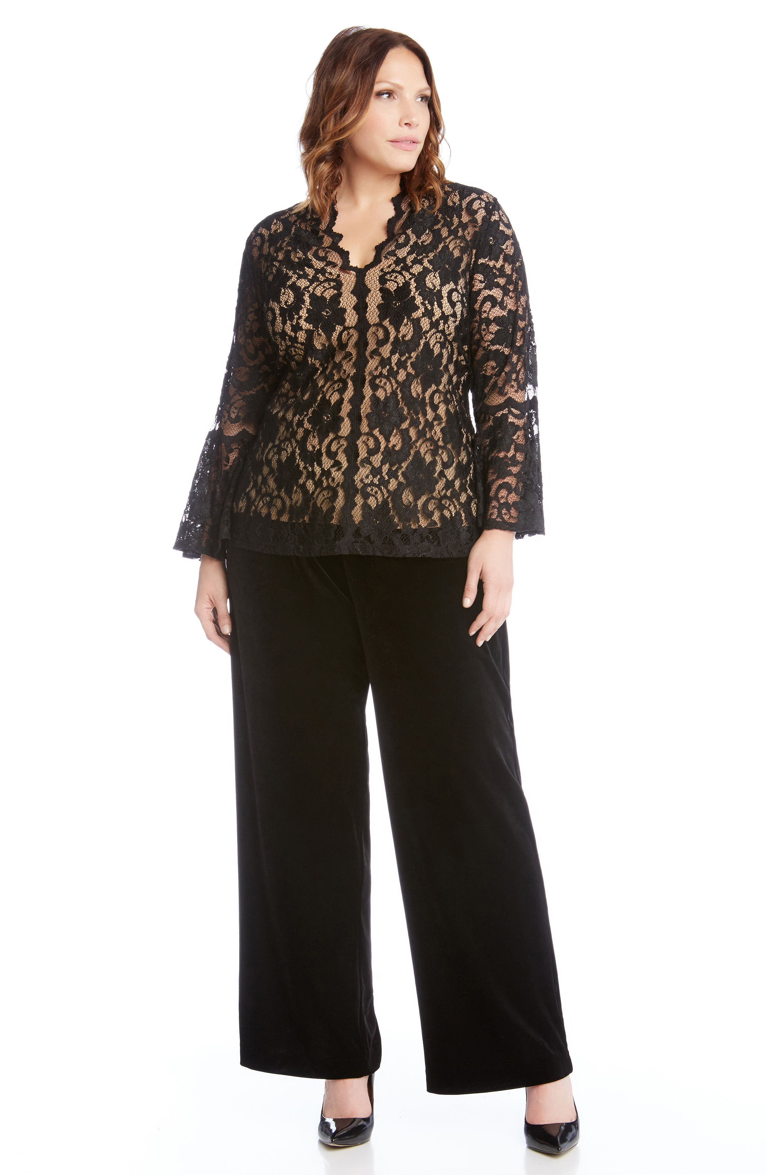 Bell Sleeve Lace Top,                             Alternate thumbnail 3, color,                             Black With Nude