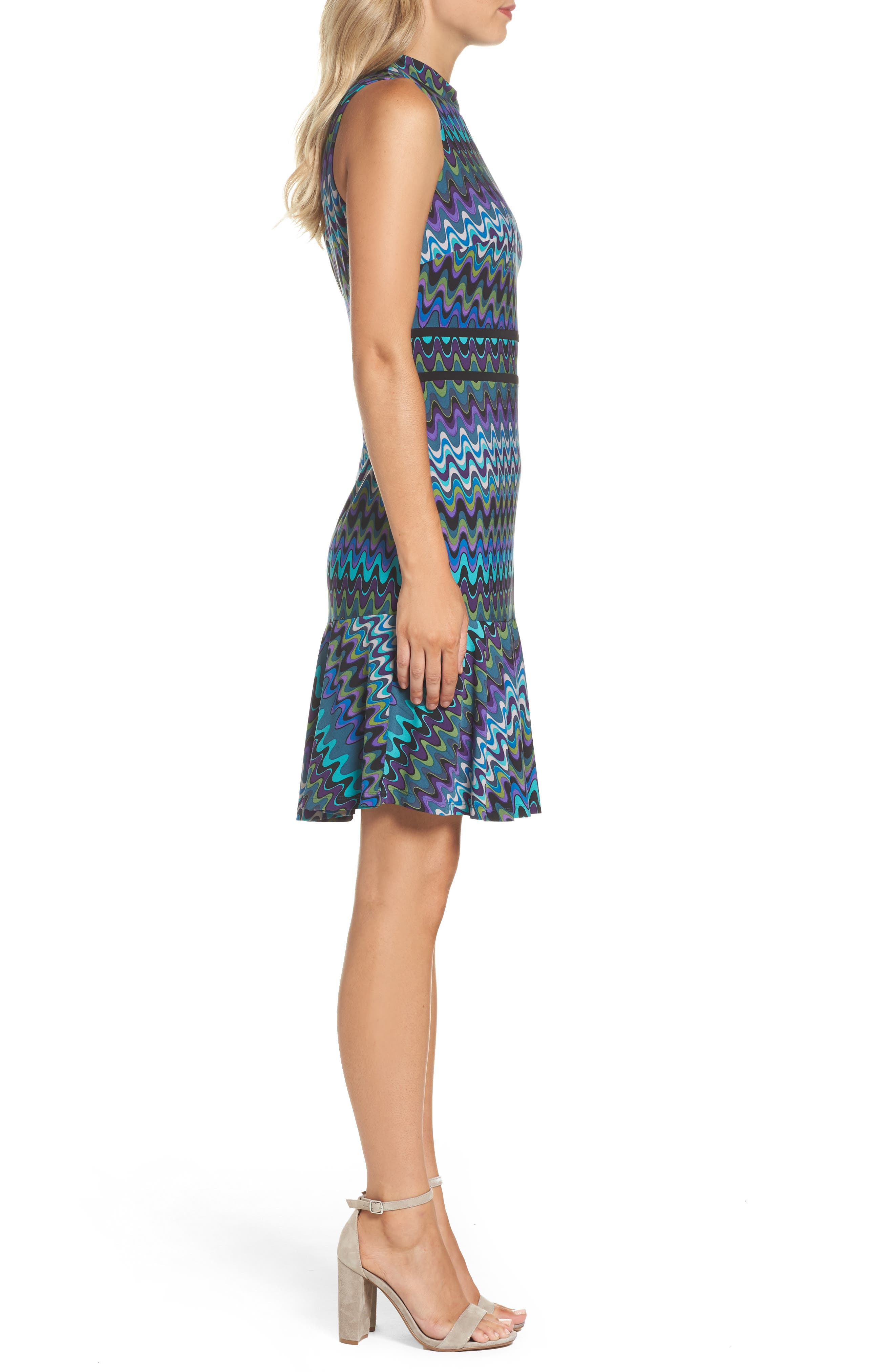 Sleeveless Jersey Sheath Dress,                             Alternate thumbnail 3, color,                             Peacock