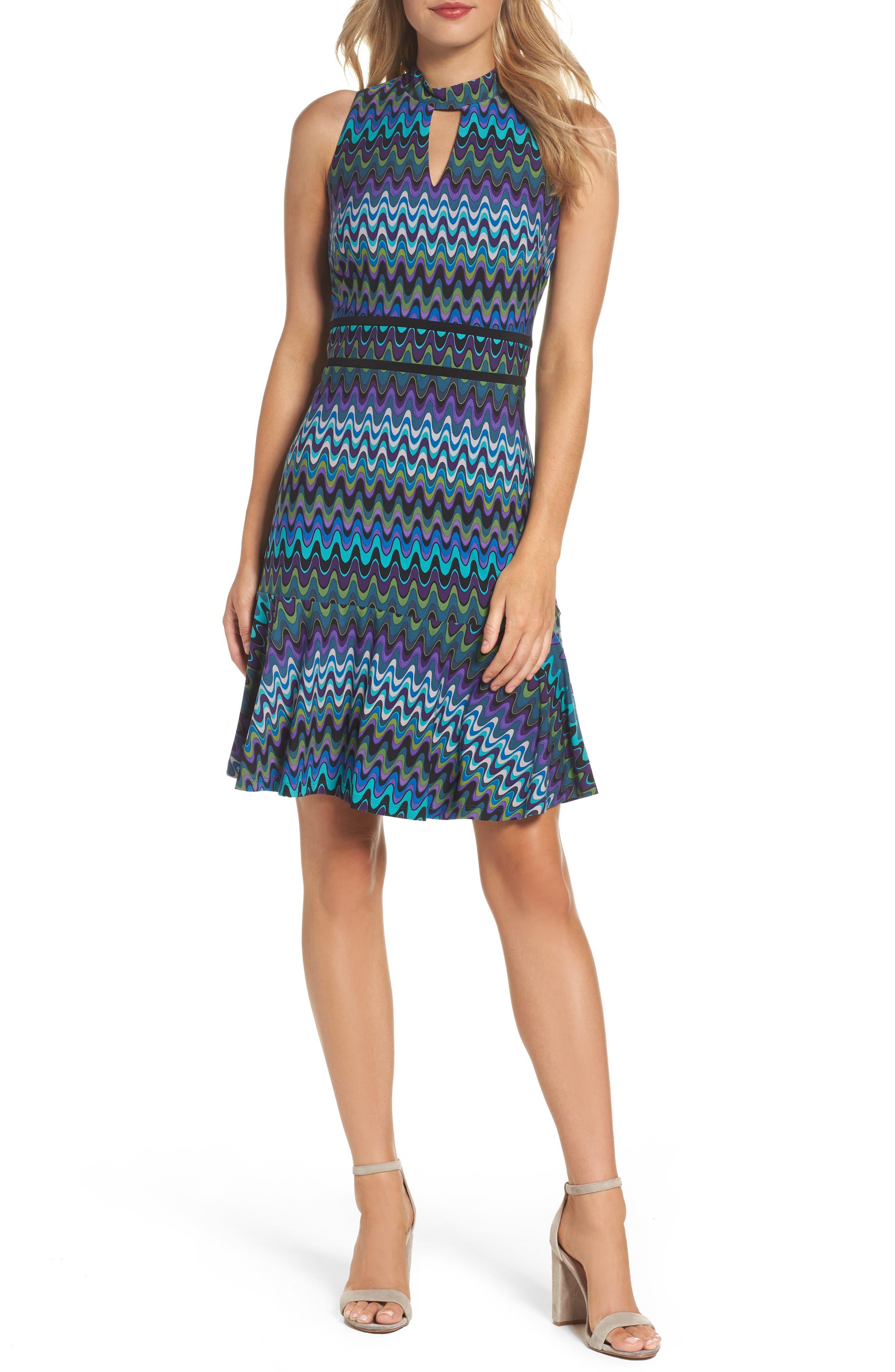 Sleeveless Jersey Sheath Dress,                             Main thumbnail 1, color,                             Peacock