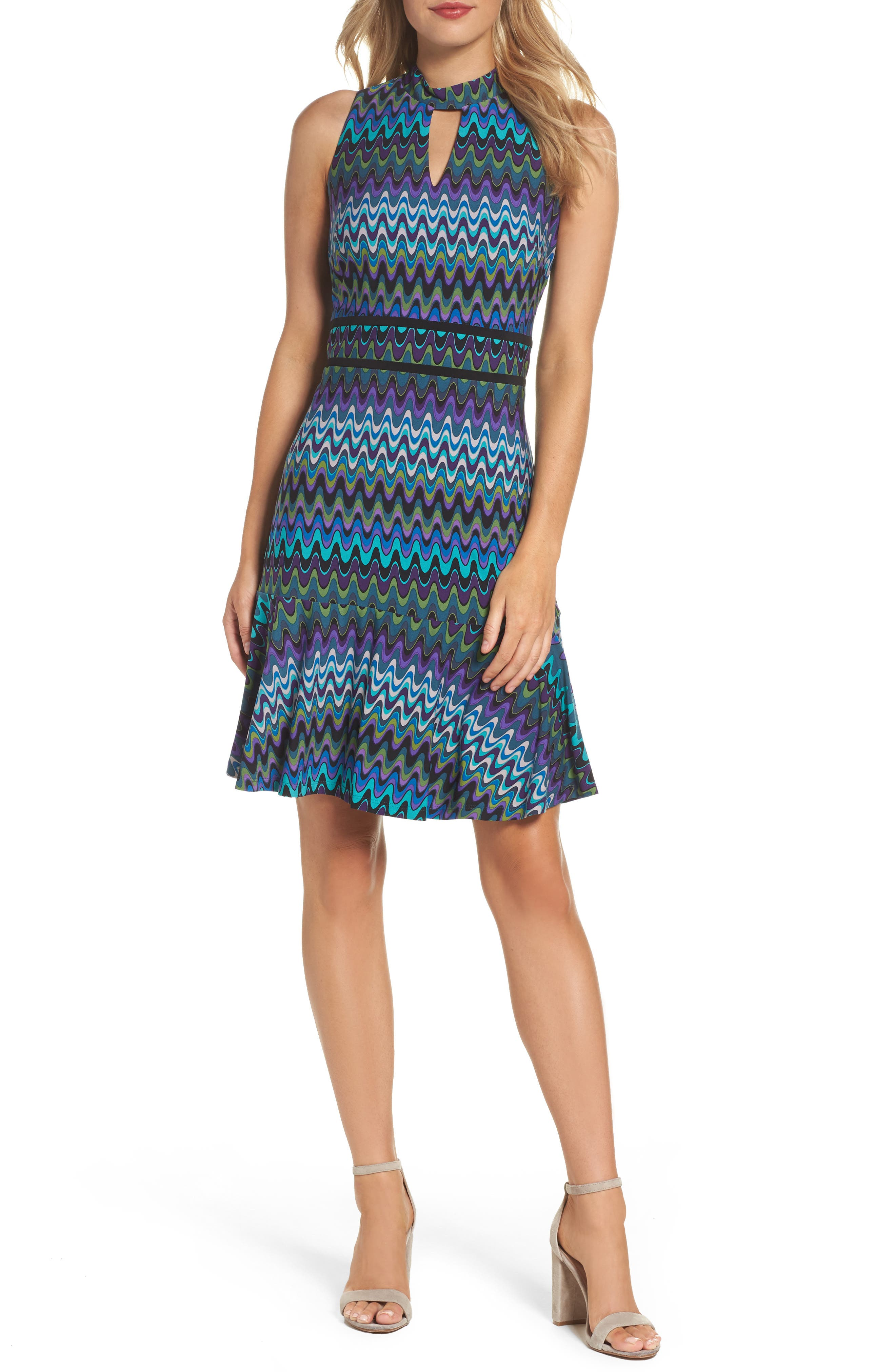 Sleeveless Jersey Sheath Dress,                         Main,                         color, Peacock