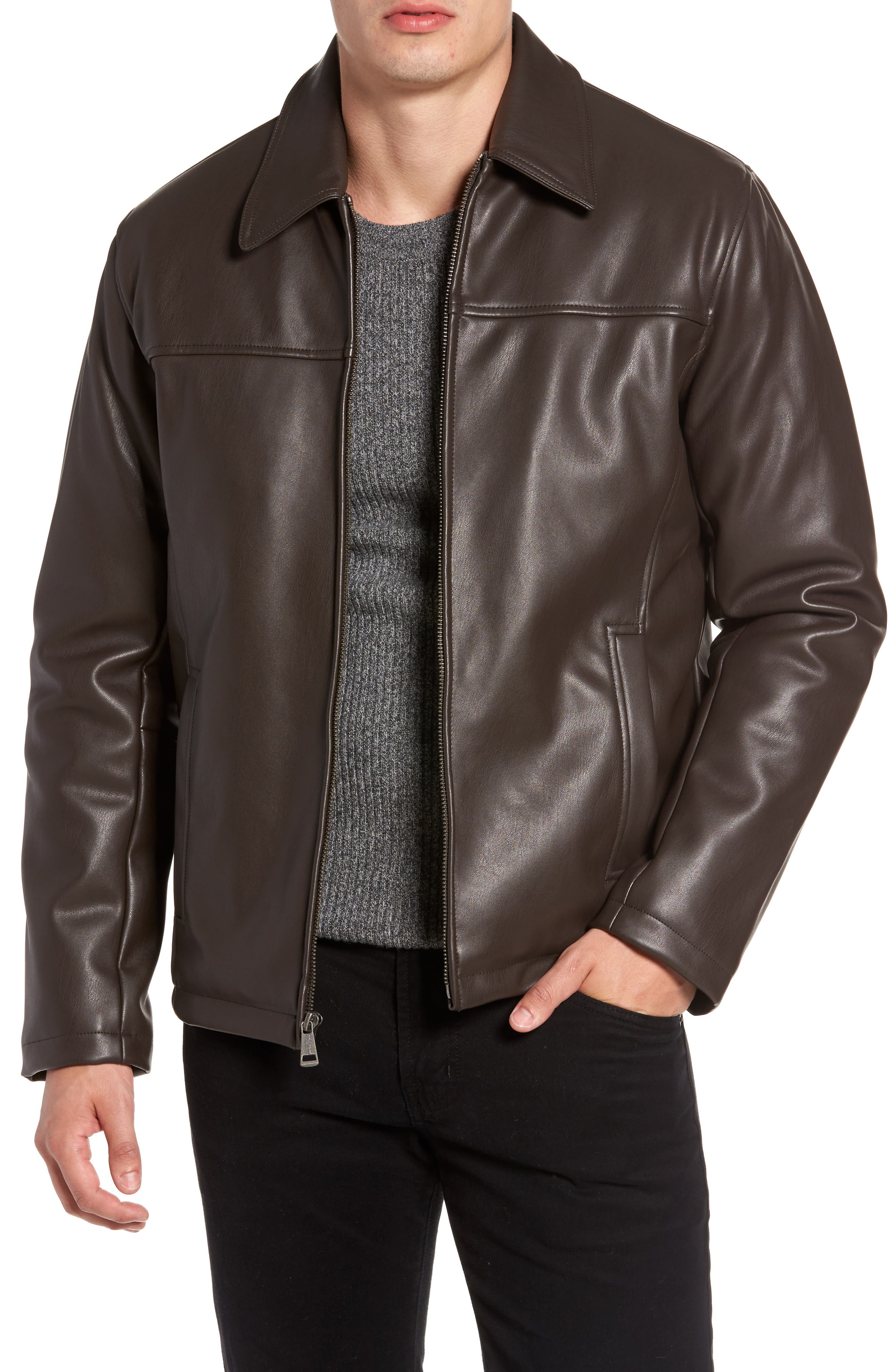 Collared Open Bottom Faux Leather Jacket,                         Main,                         color, Dark Brown