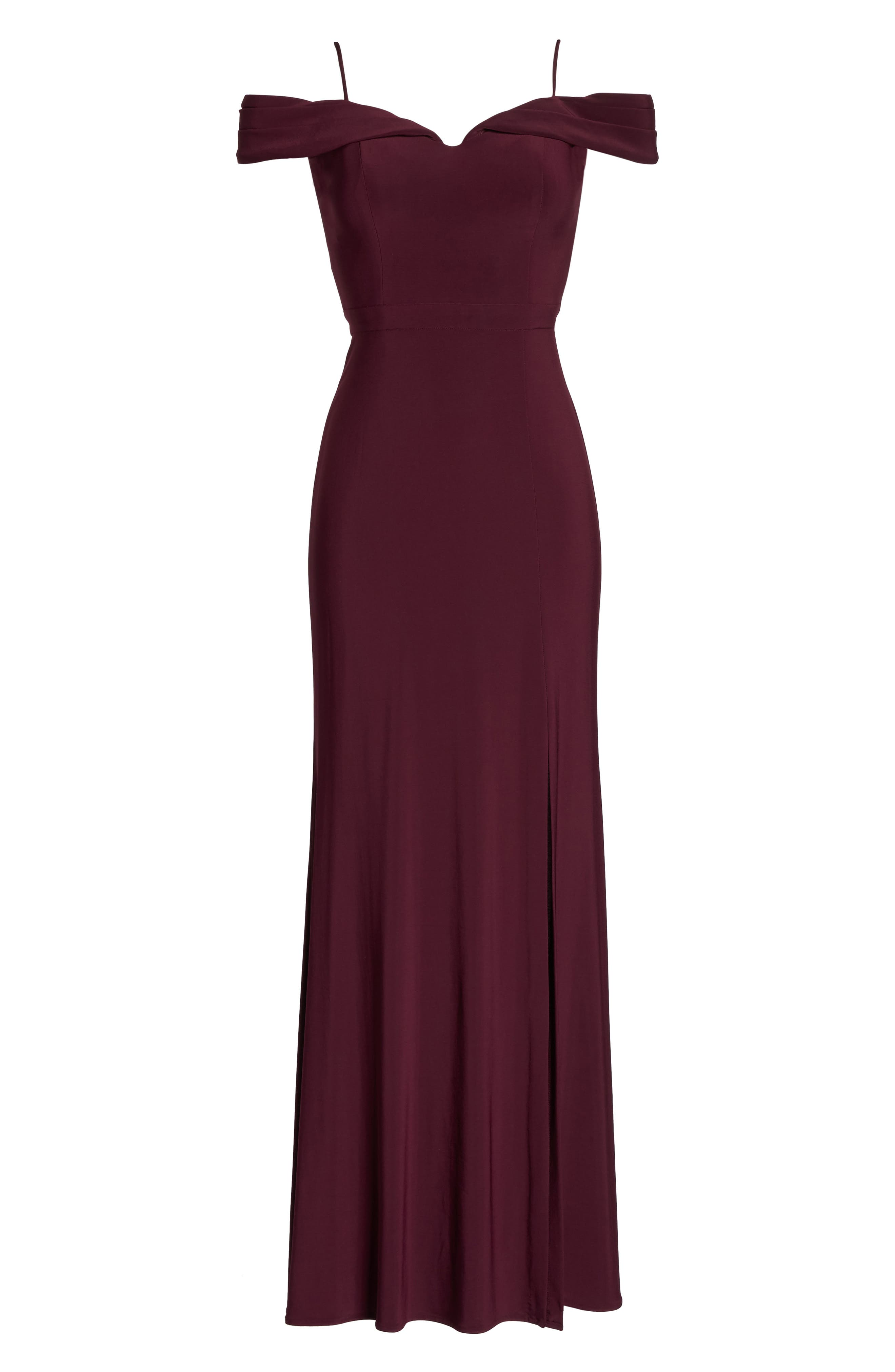 Off the Shoulder Gown,                             Alternate thumbnail 6, color,                             Wine