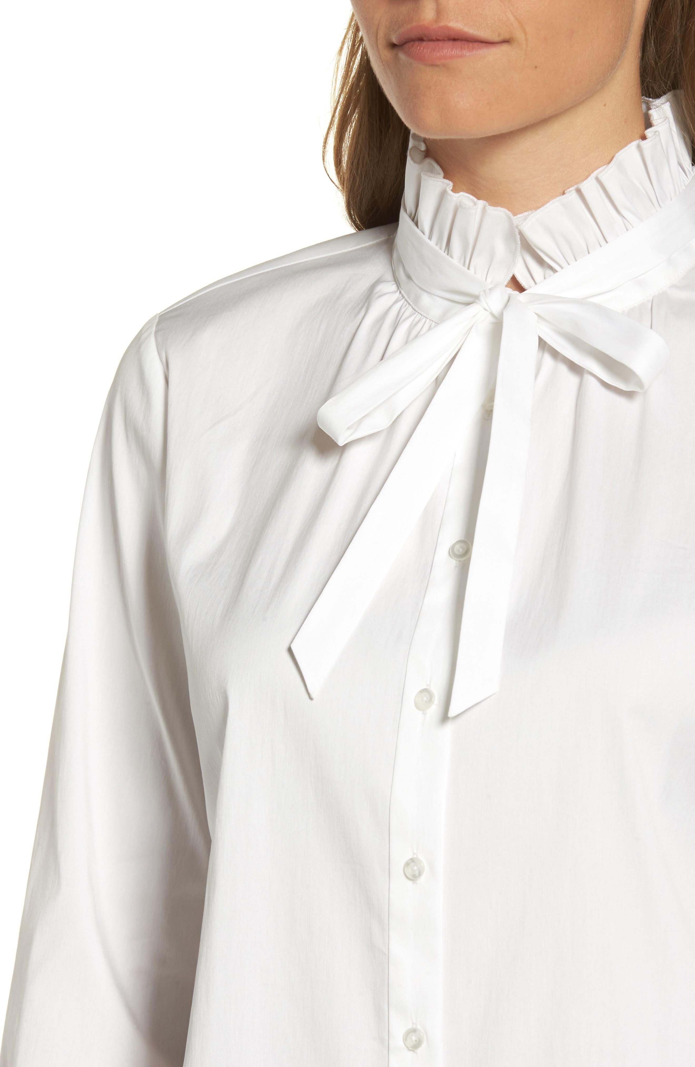 Alternate Image 4  - Halogen® Ruffle Bow Neck Blouse (Regular & Petite)