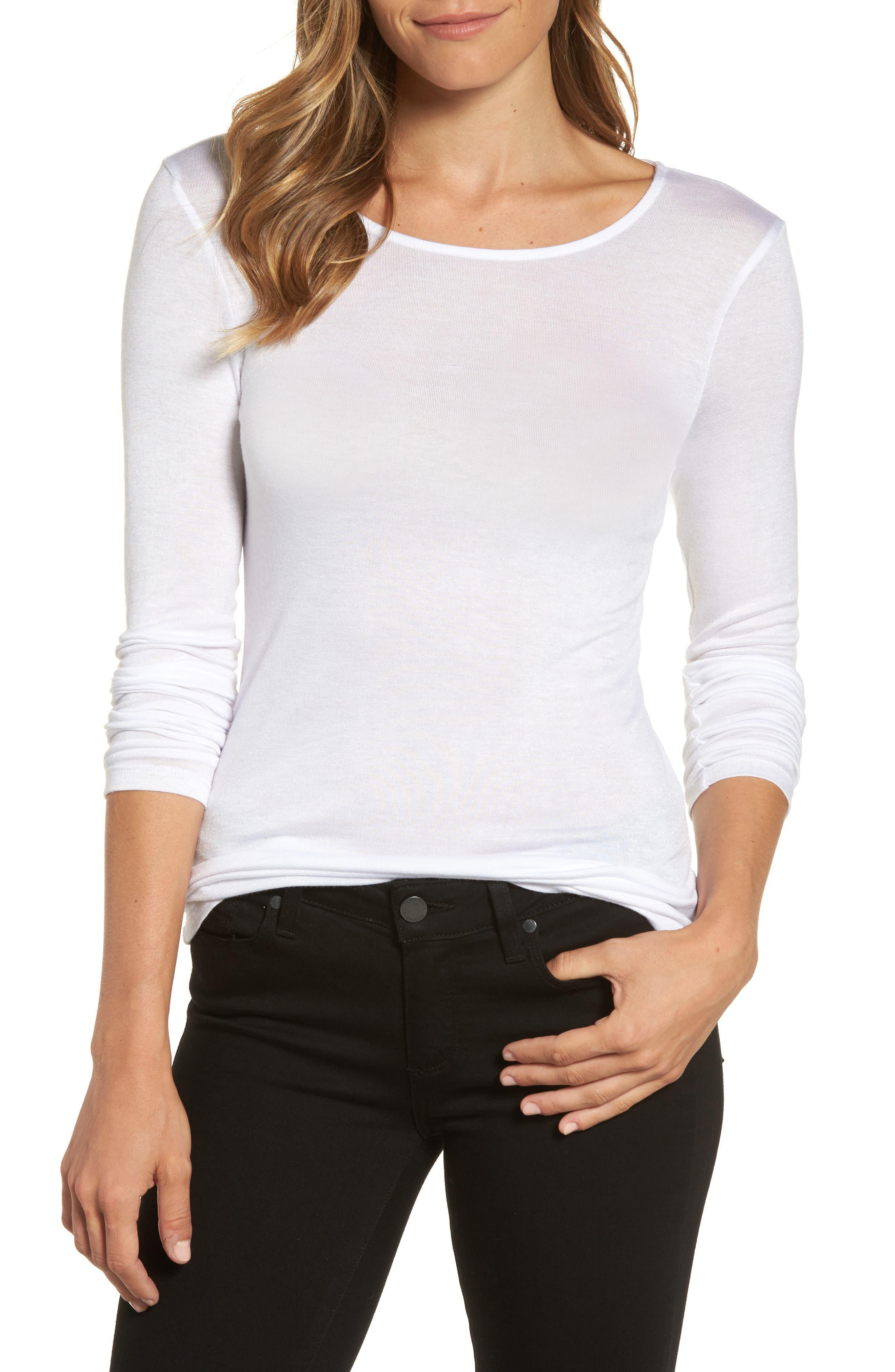 Halogen® Sheer Knit Tee (Regular & Petite)