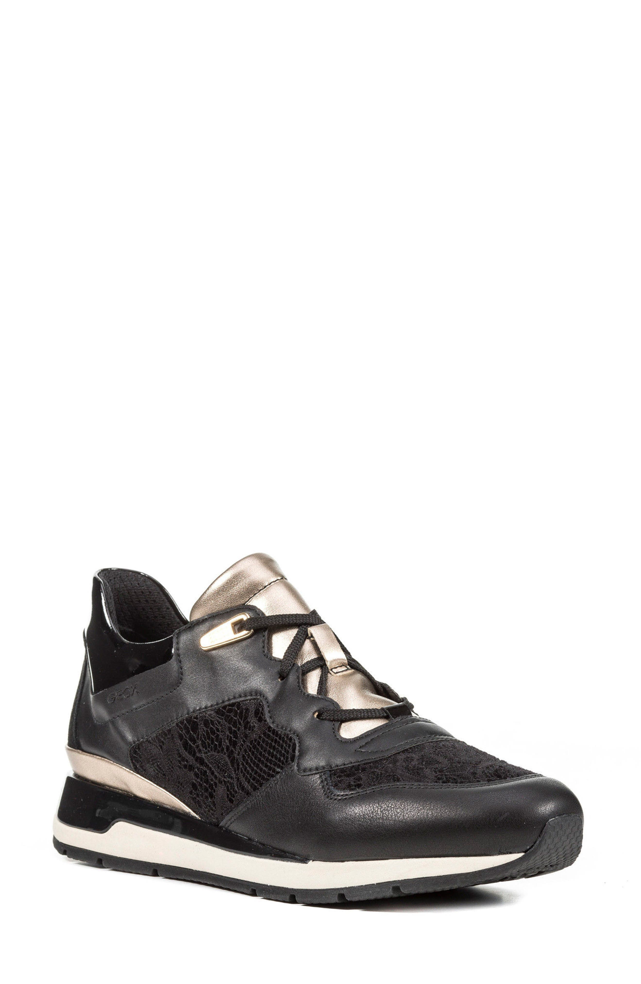 Shahira Sneaker,                         Main,                         color, Black Leather