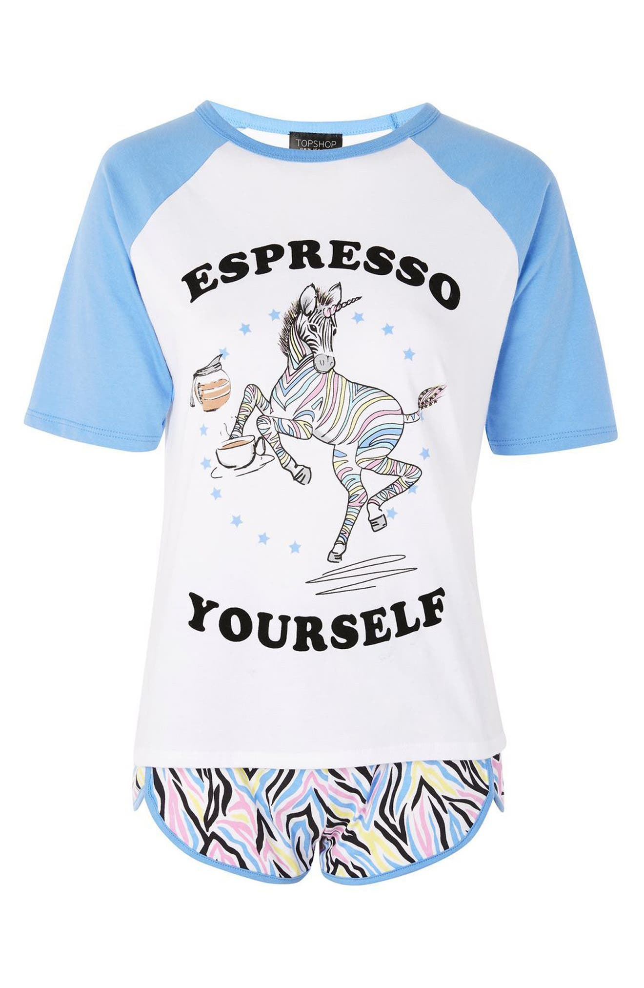 Espresso Yourself Short Pajamas,                             Alternate thumbnail 3, color,                             Blue Multi