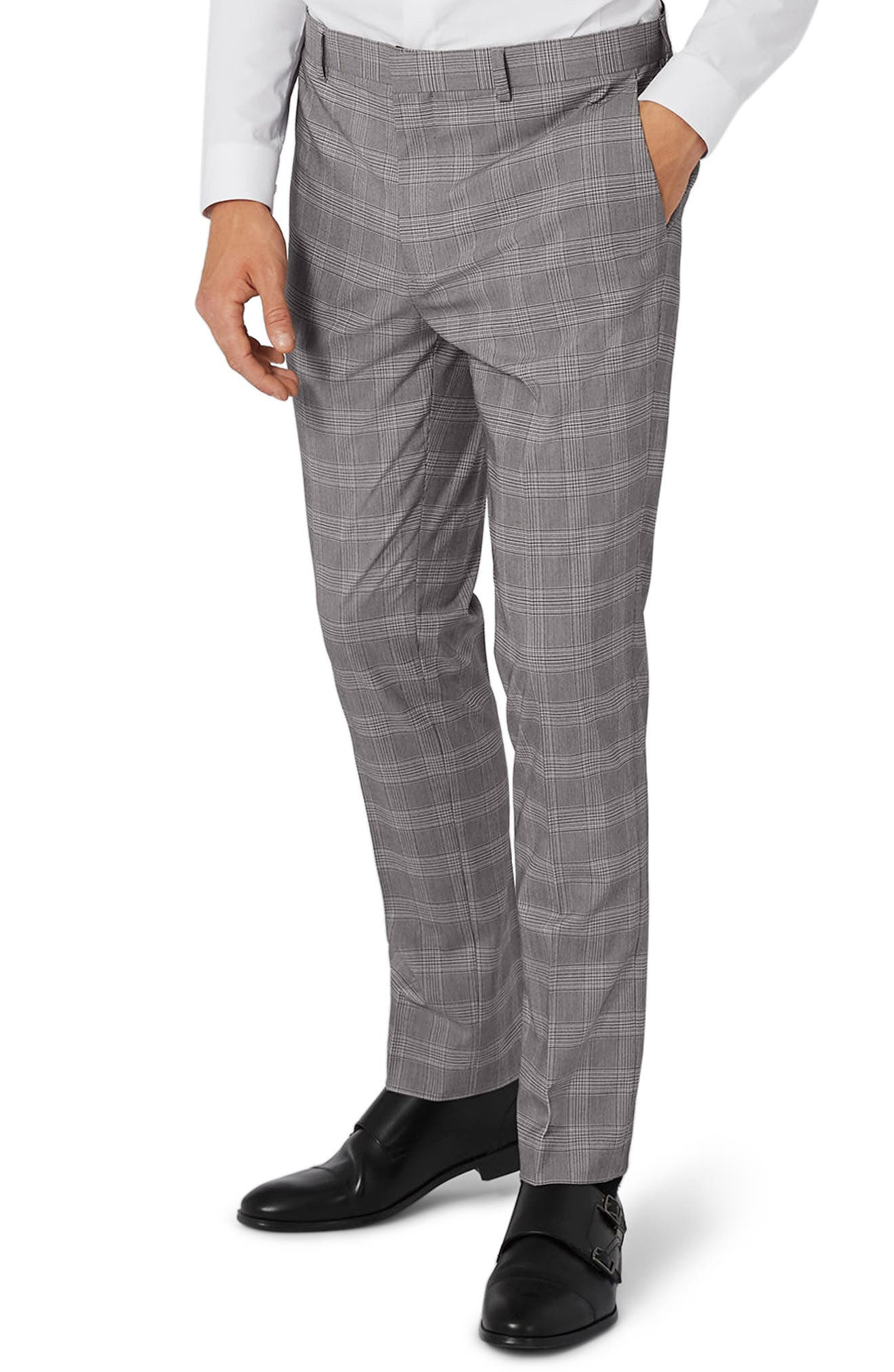 Topman Skinny Fit Check Suit Trousers