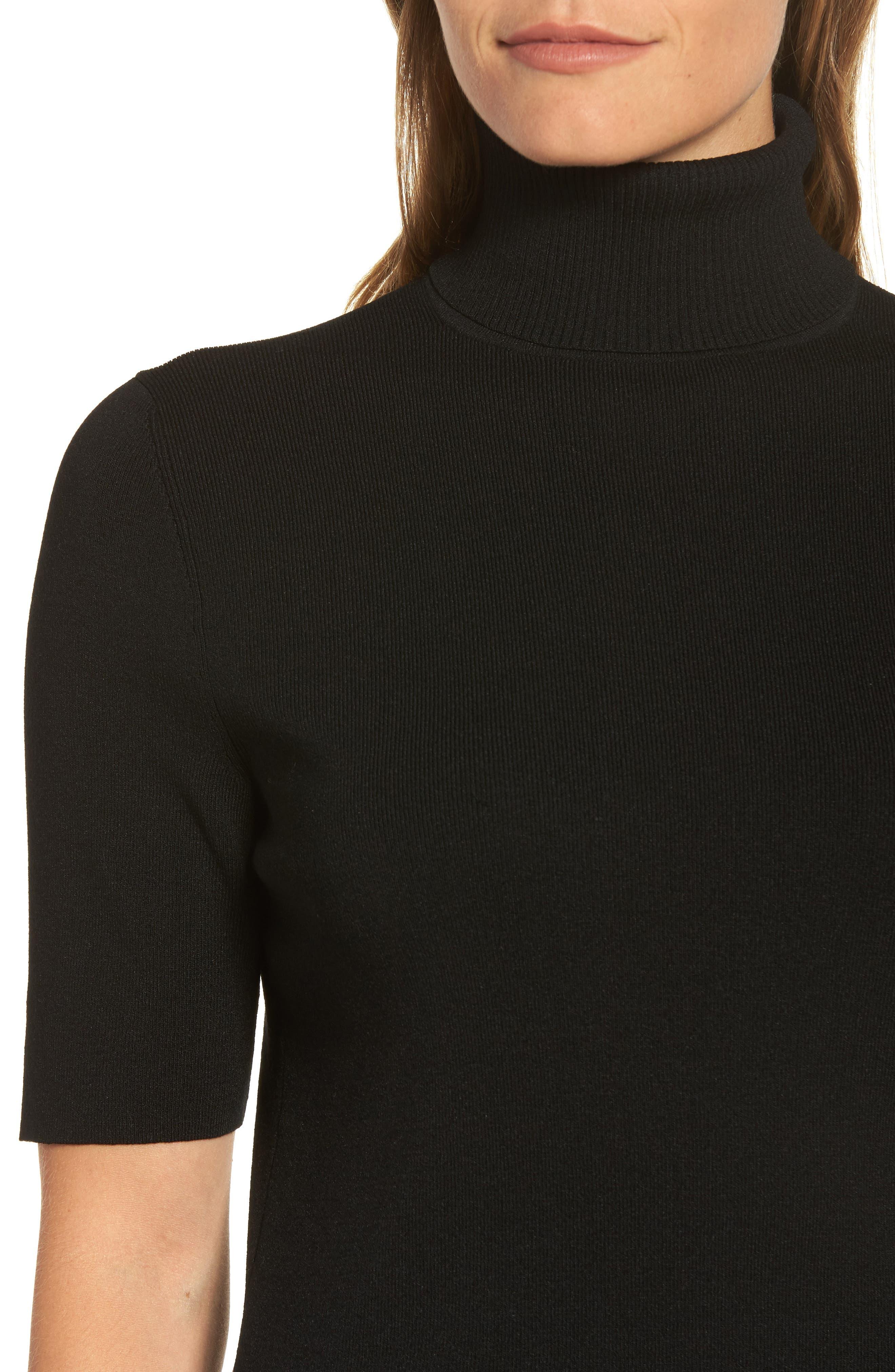 Turtleneck Sweater,                             Alternate thumbnail 4, color,                             Black