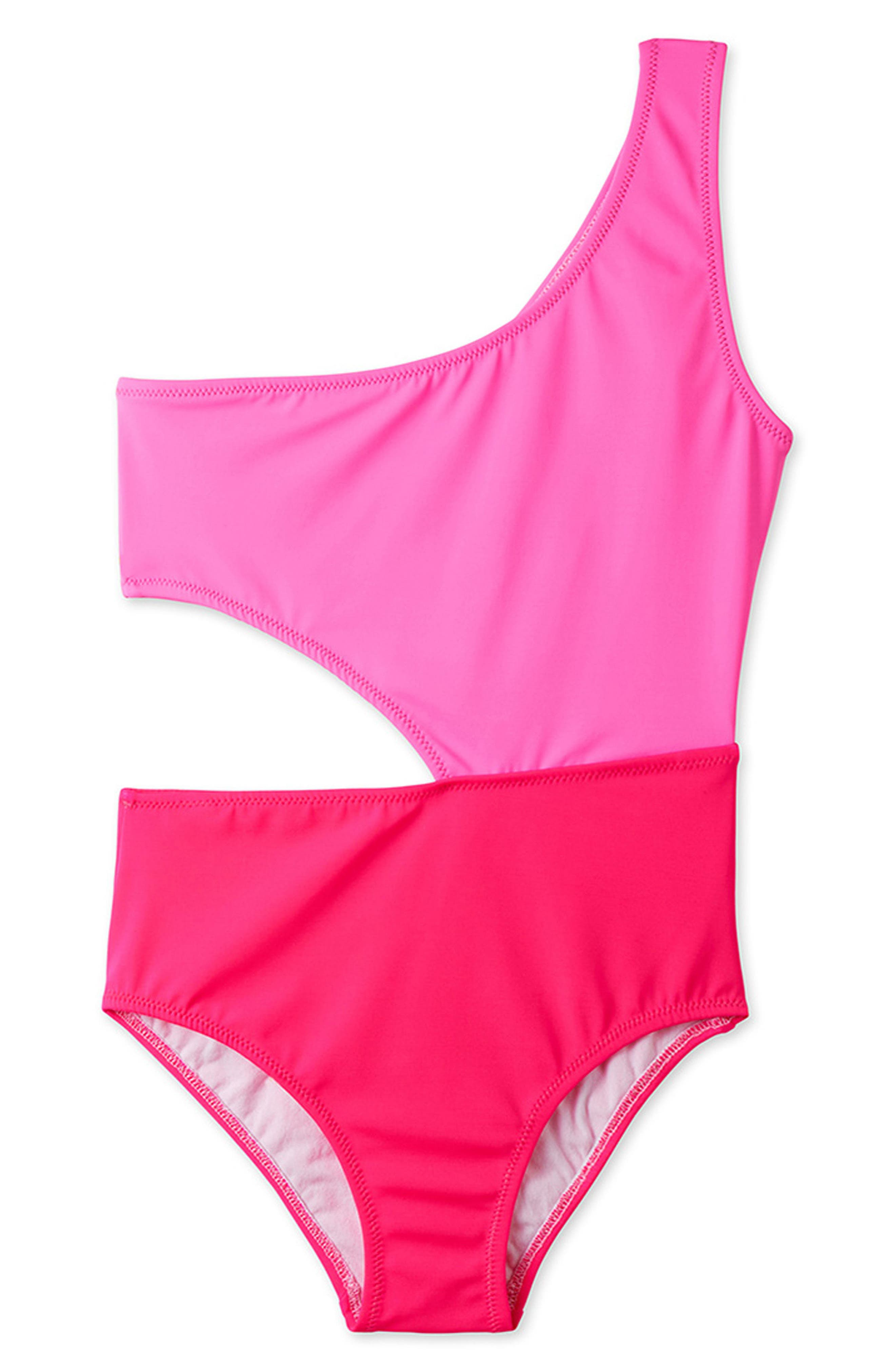 Two-Tone Cutout One-Piece Swimsuit,                         Main,                         color, Pink