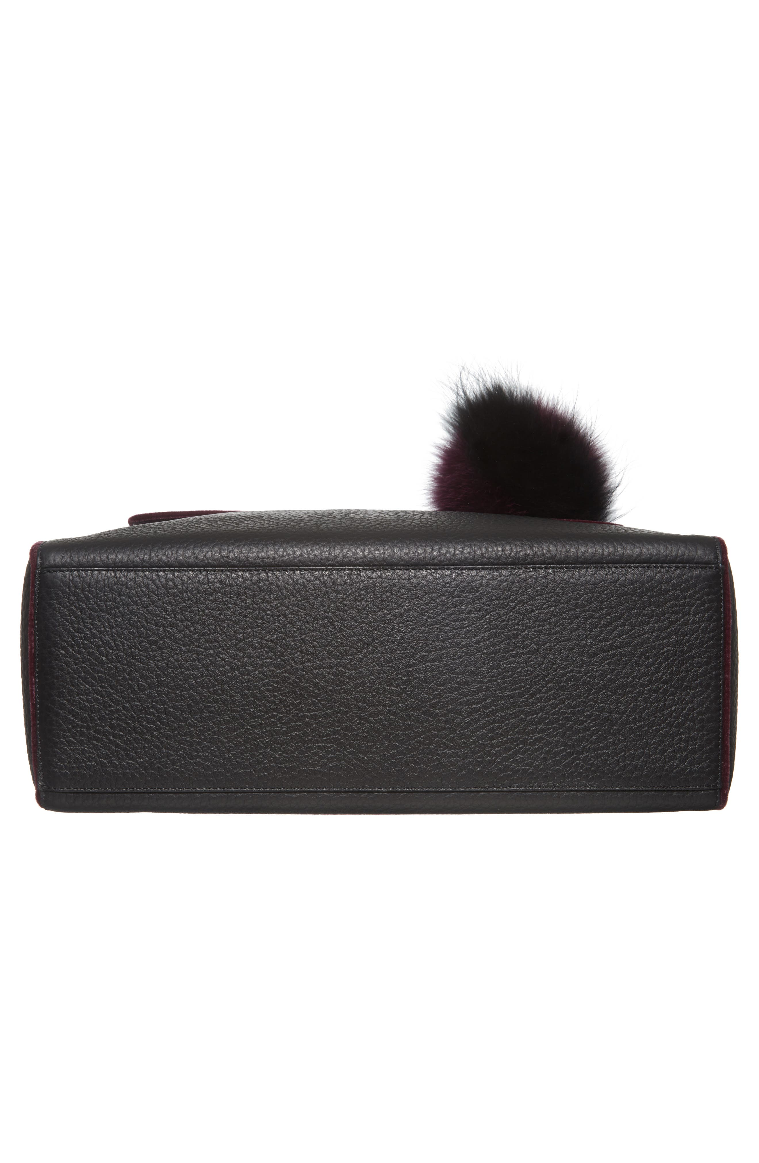 Alternate Image 5  - Orciani Large Sveva Soft Leather Top Handle Satchel with Genuine Fur Bag Charm