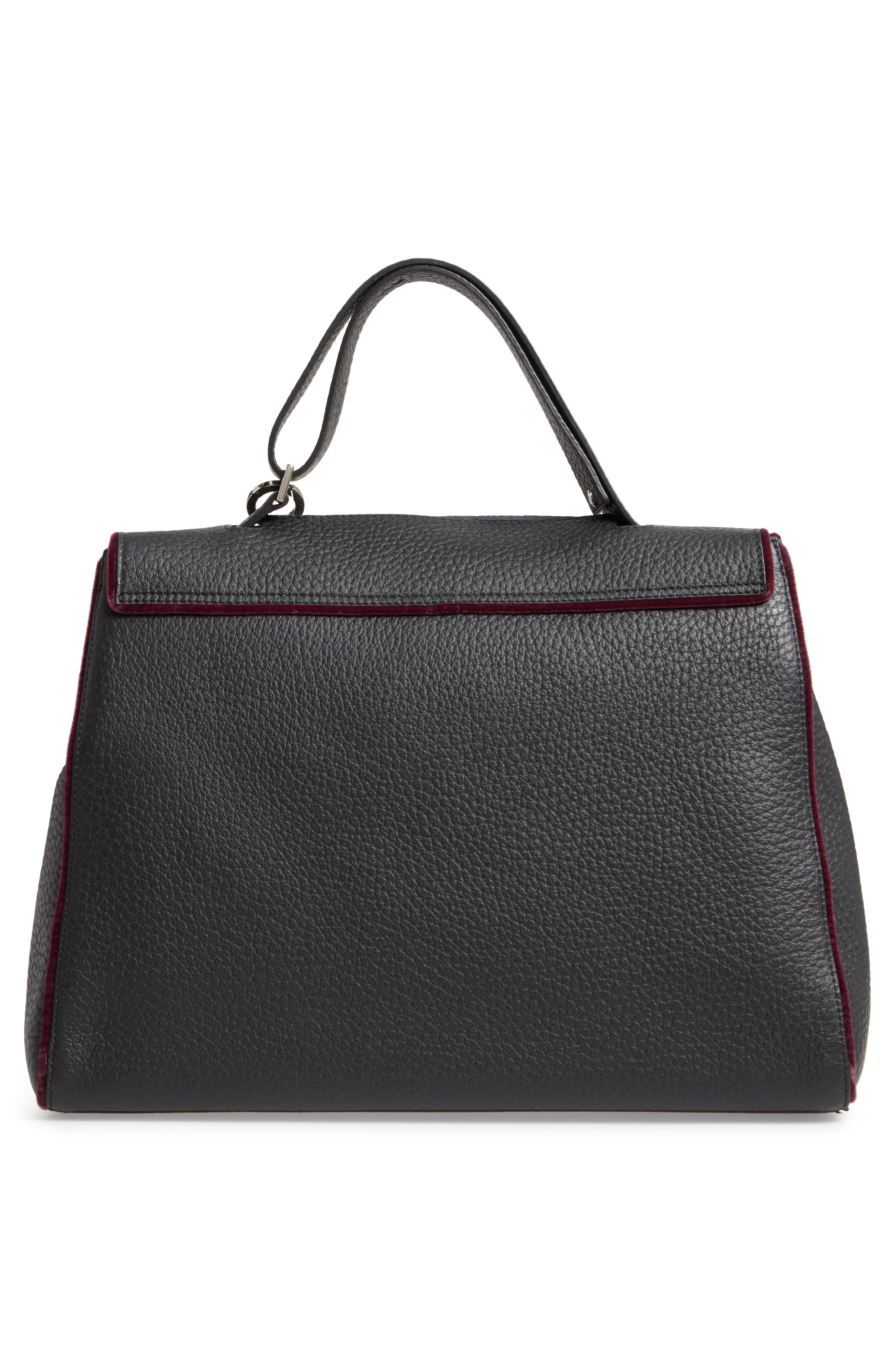 Alternate Image 2  - Orciani Large Sveva Soft Leather Top Handle Satchel with Genuine Fur Bag Charm