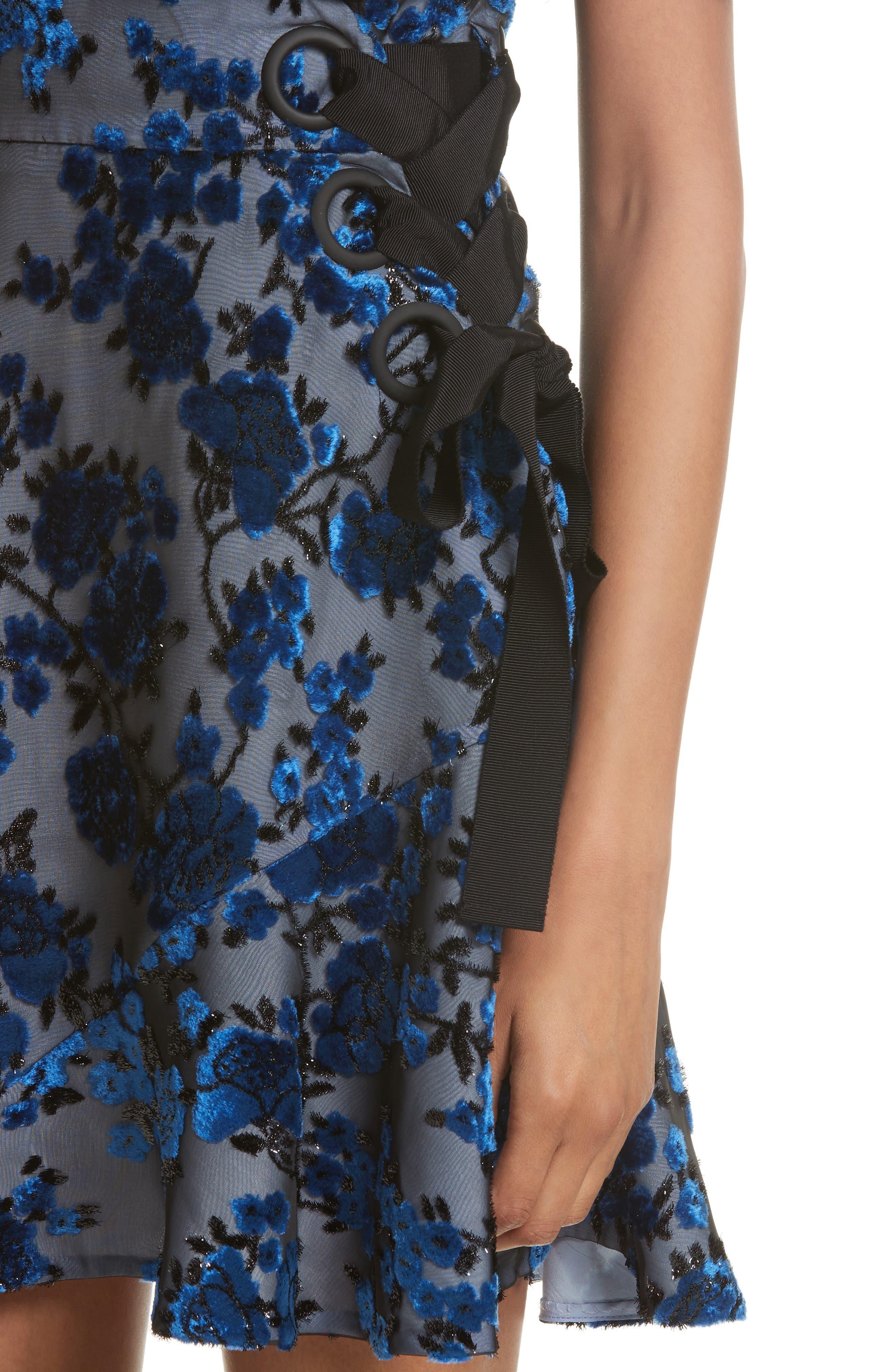 Velvet Devoré Minidress,                             Alternate thumbnail 4, color,                             Blue