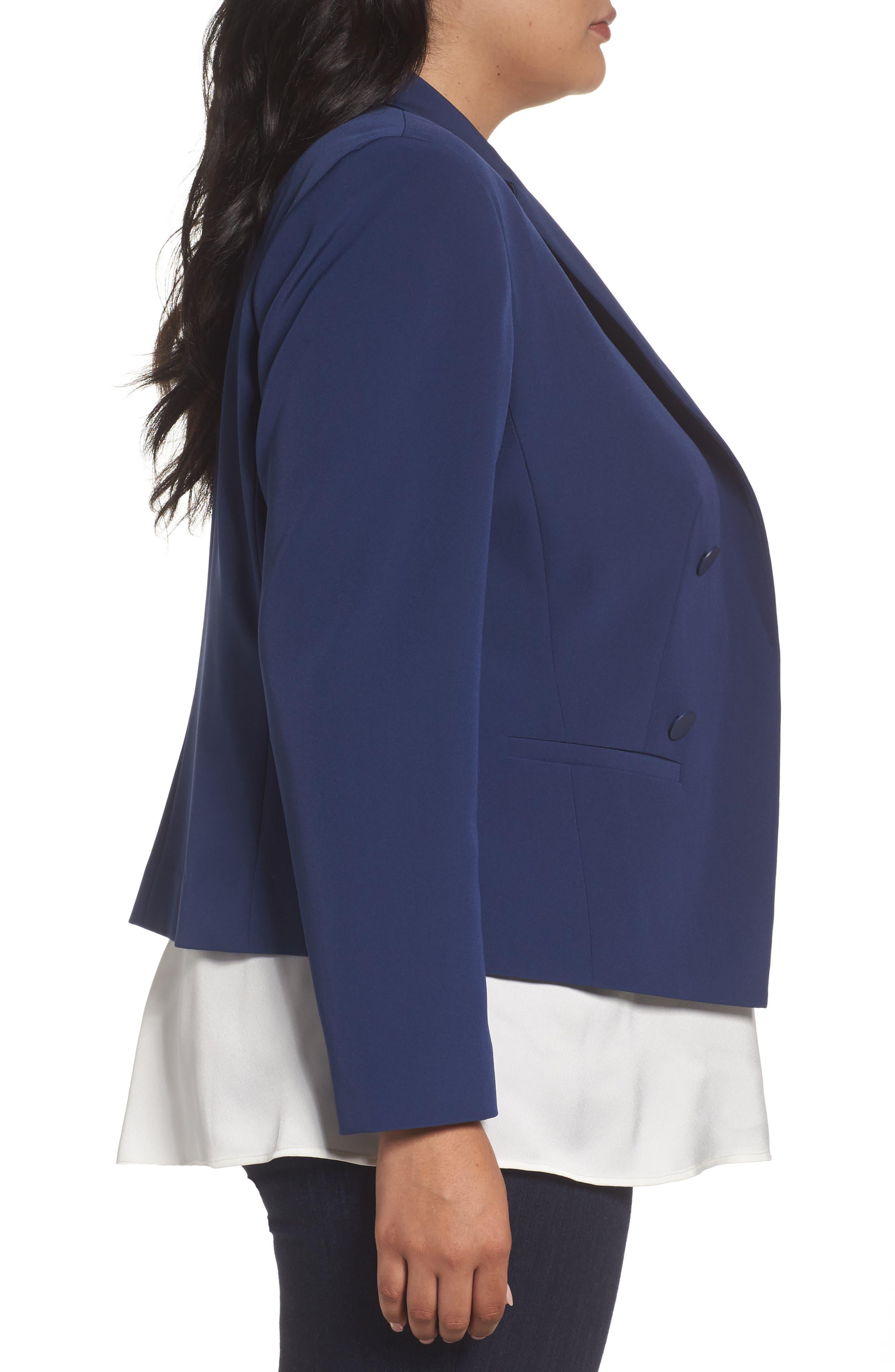 Alternate Image 4  - Sejour Crop Open Front Blazer (Plus Size)