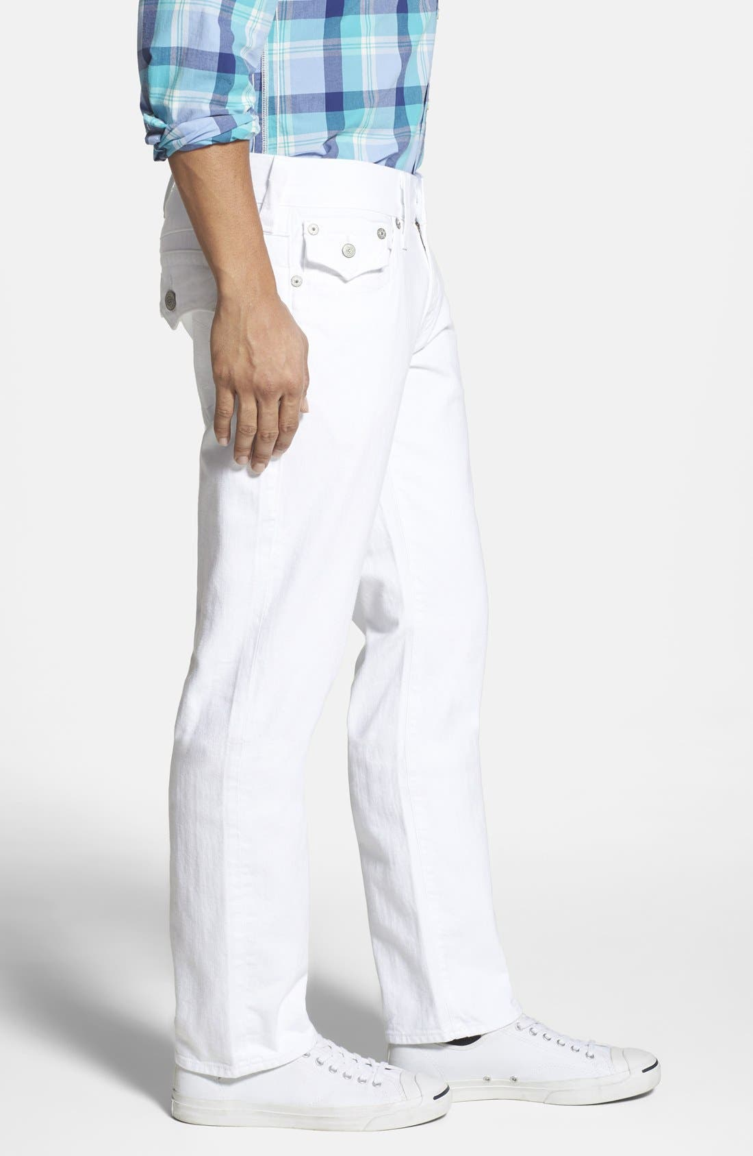 'Geno' Straight Leg Jeans,                             Alternate thumbnail 3, color,                             Optic White