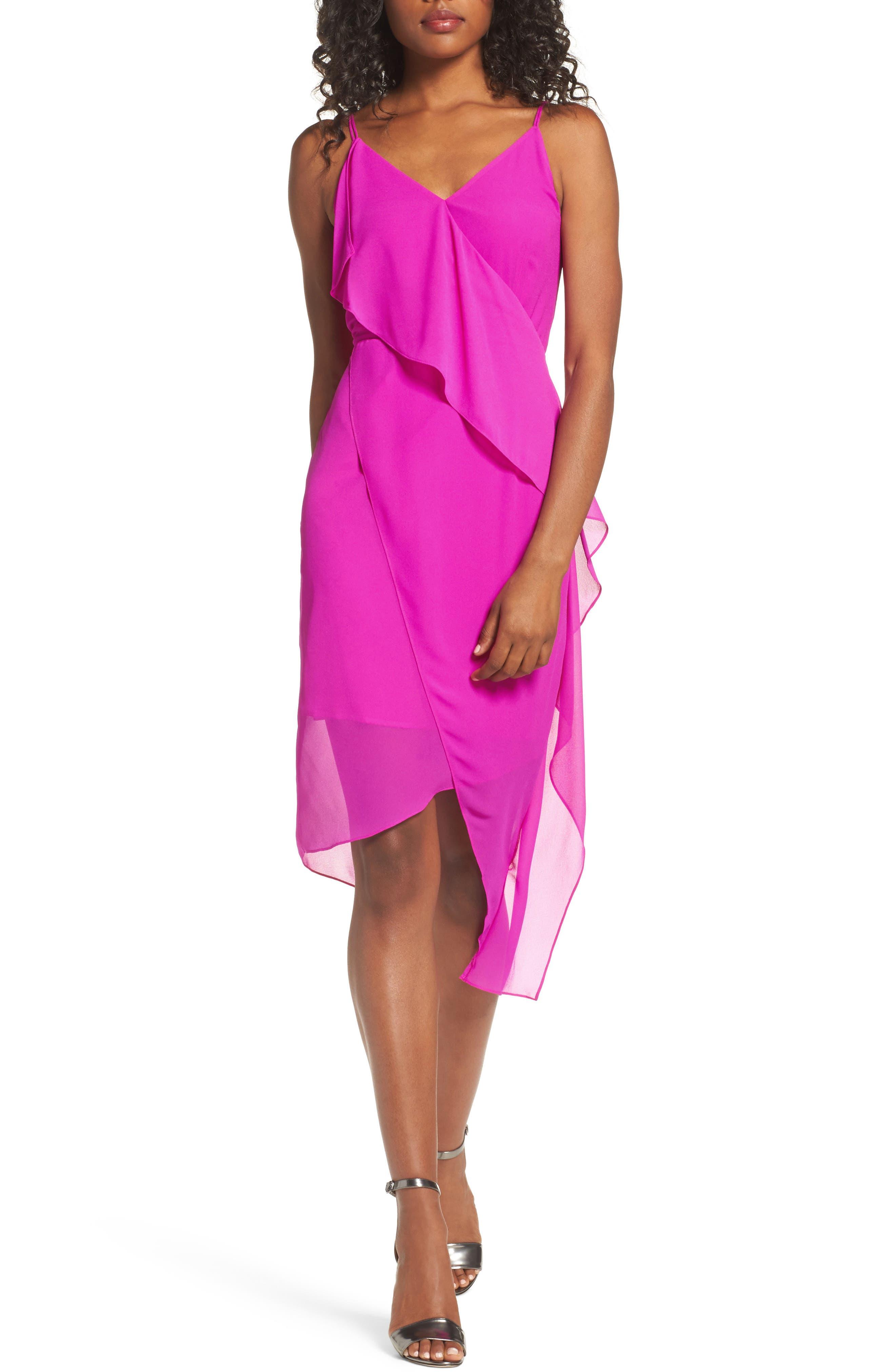 Chelsea28 Asymmetrical Faux Wrap Dress