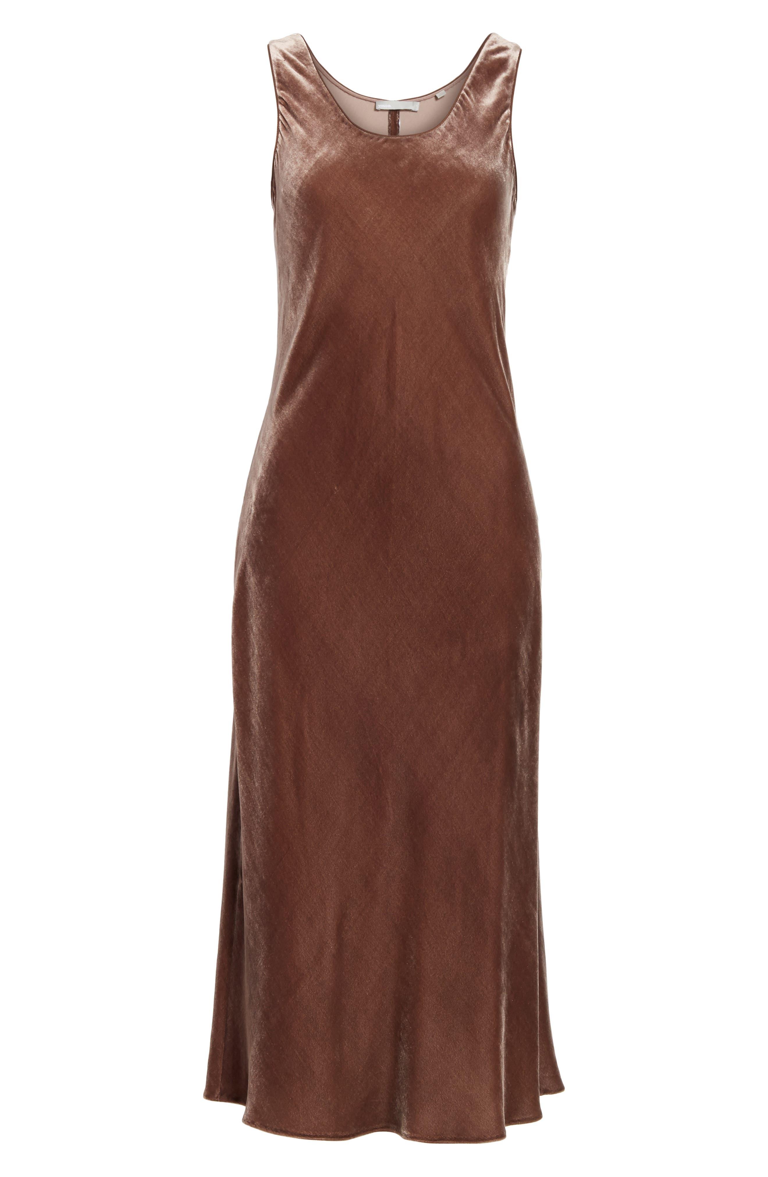 Velvet Tank Dress,                             Alternate thumbnail 6, color,                             Cocoa Bean